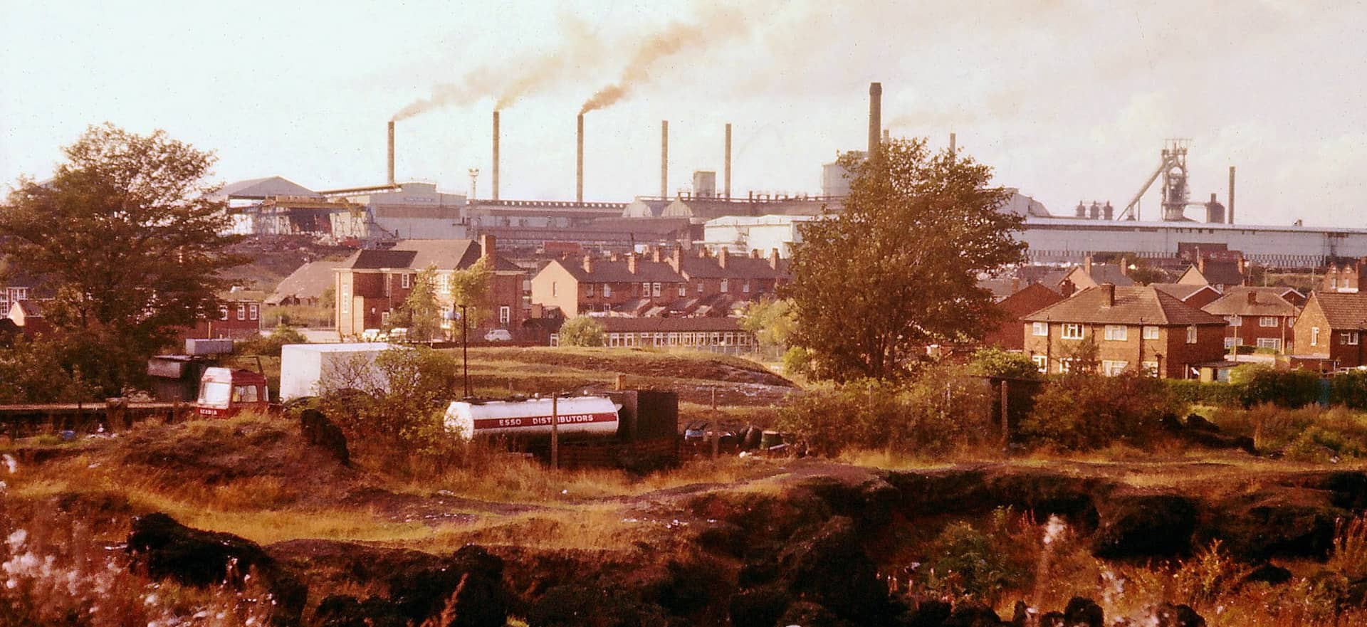 Bilston Steelworks from Bradley Arm canal near Highfields Road, Coseley, 1976.
