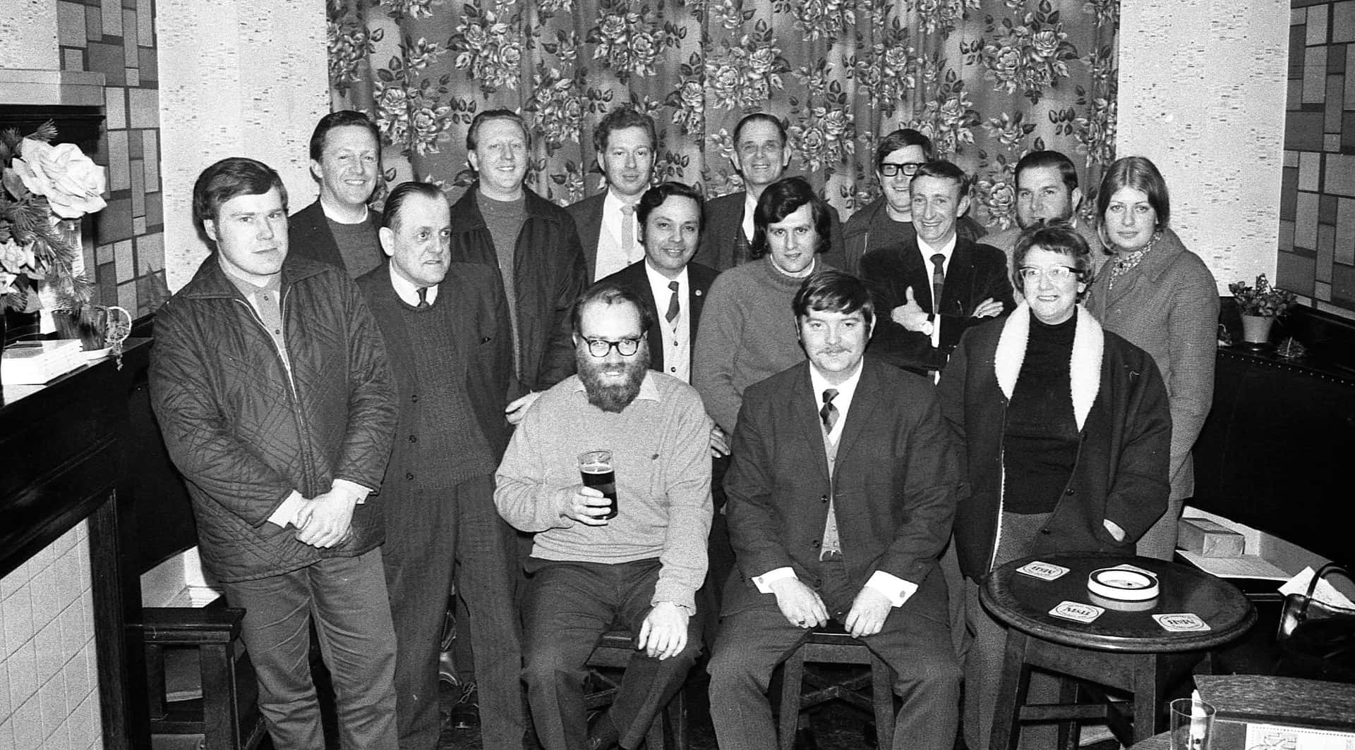 The Black Country Society Committee photographed at the Union Inn in Tipton, 1972