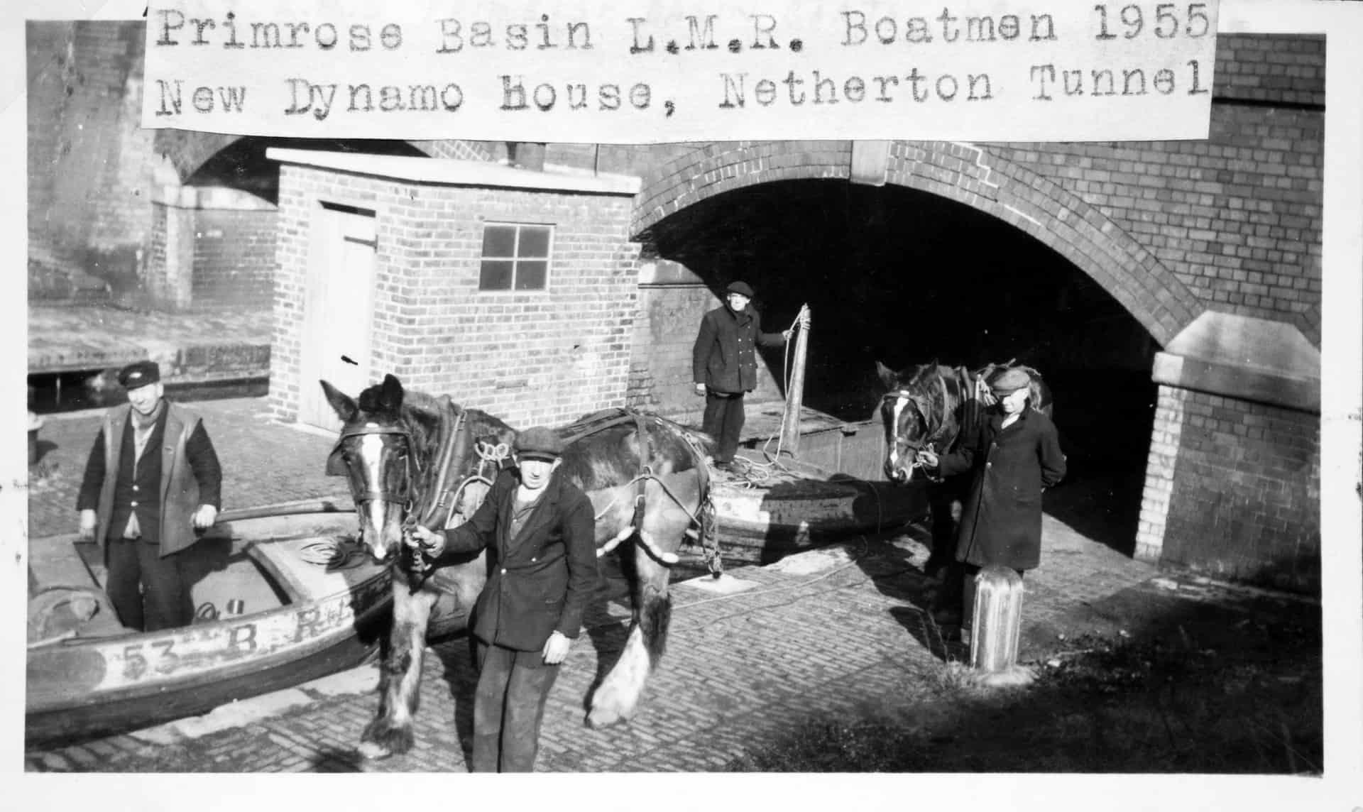 Primrose Basin L.M.R. Boatmen, the new dynamo house, Netherton Tunnel 1955