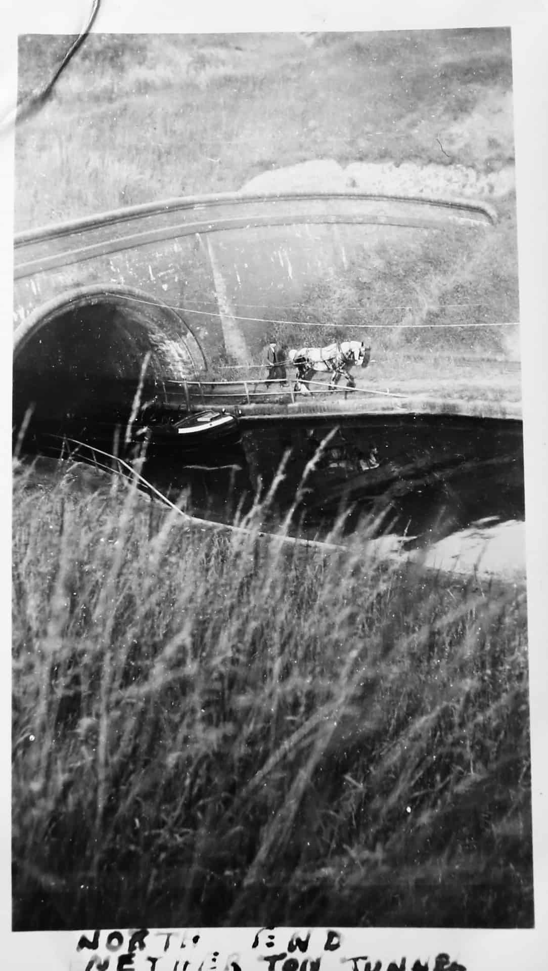 Working horse and boatman leaving north end of Netherton Tunnel c 1950s