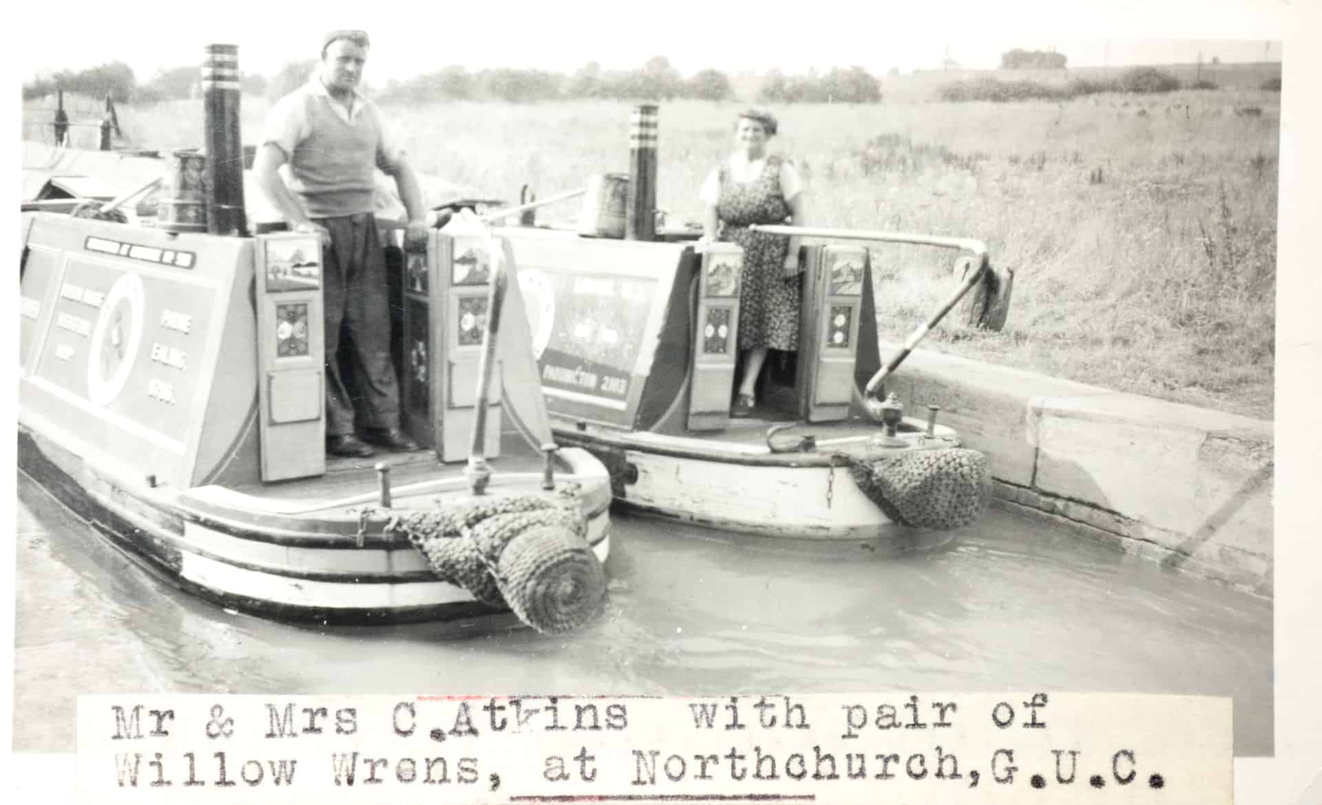 Mr and Mr C.Atkins with a pair of Willow Wrens, at Northchurch, Grand Union Canal c 1050s