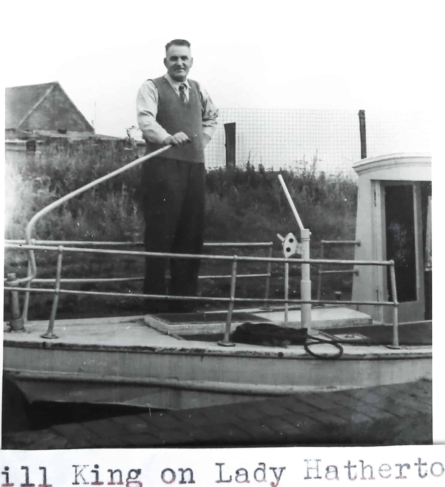 Will King standing on the boat the Lady Hatherton