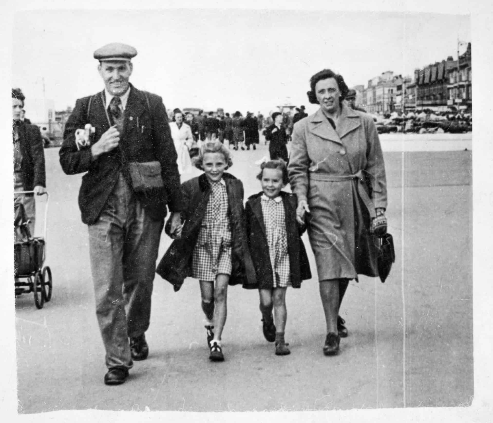 Will King, his daughters Ruth and Christine, and his wife Lucy, in Rhyl, Wales,  late 1940s
