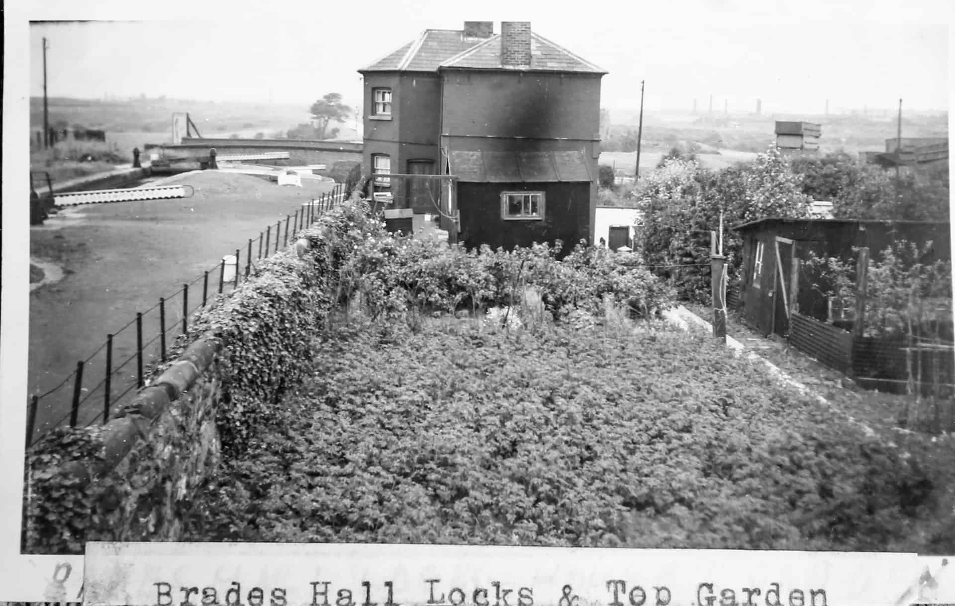 Brades Hall Locks and top garden, c 1950s