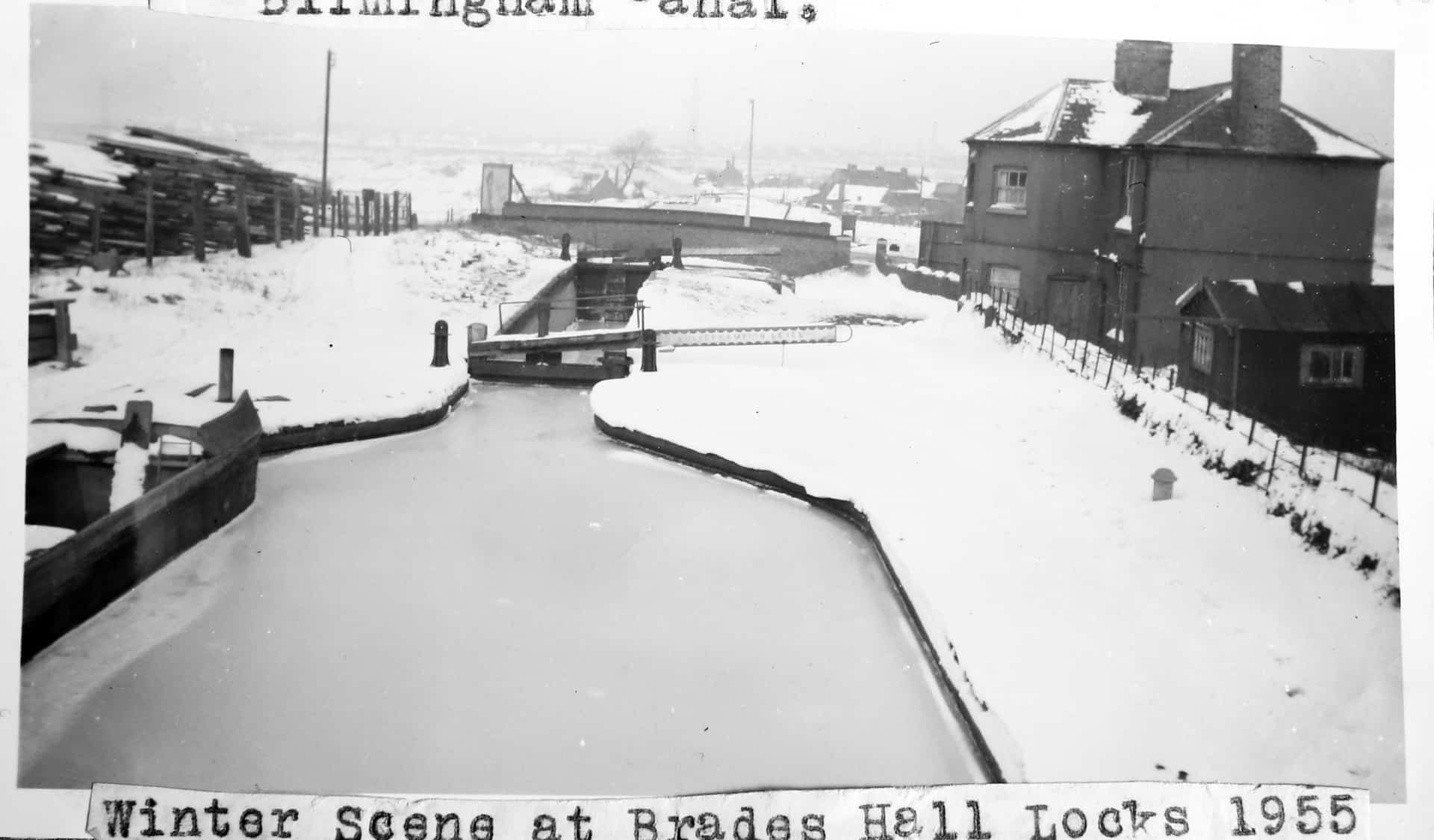 Winter scene at Brades Hall Locks 1955