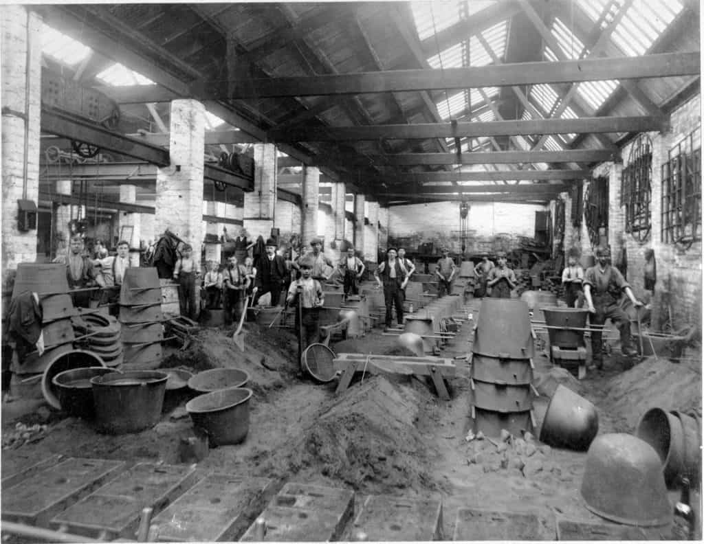 Charles Lathe Foundry, at Summerhill Tipton. Keith's grandad Richard Thomas (on mother's side) worked here between 1910 - 1960. This photo dated around late 1920s, photographer unknown