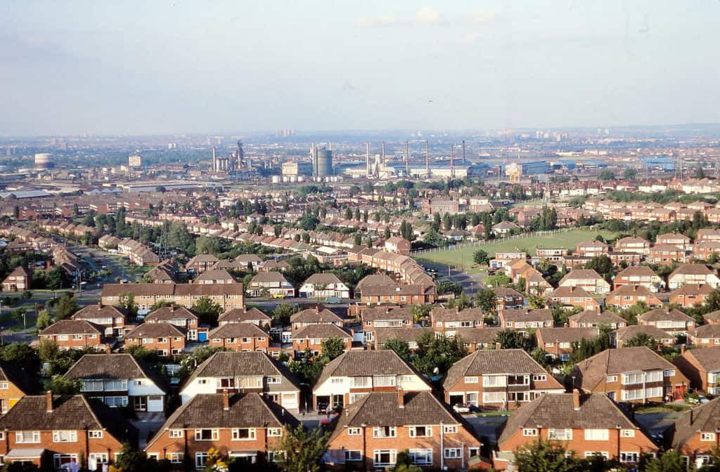 View east from Beacon Hill Sedgley with Bilston Steelworks in the distance. 1979