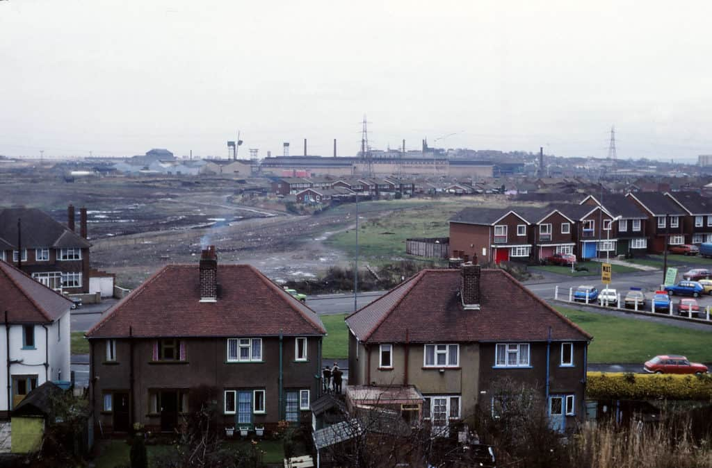 View over Patent Shaft Steel Works taken from Gospel Oak. Photographed from the last train over the Princes End branch line in 1980