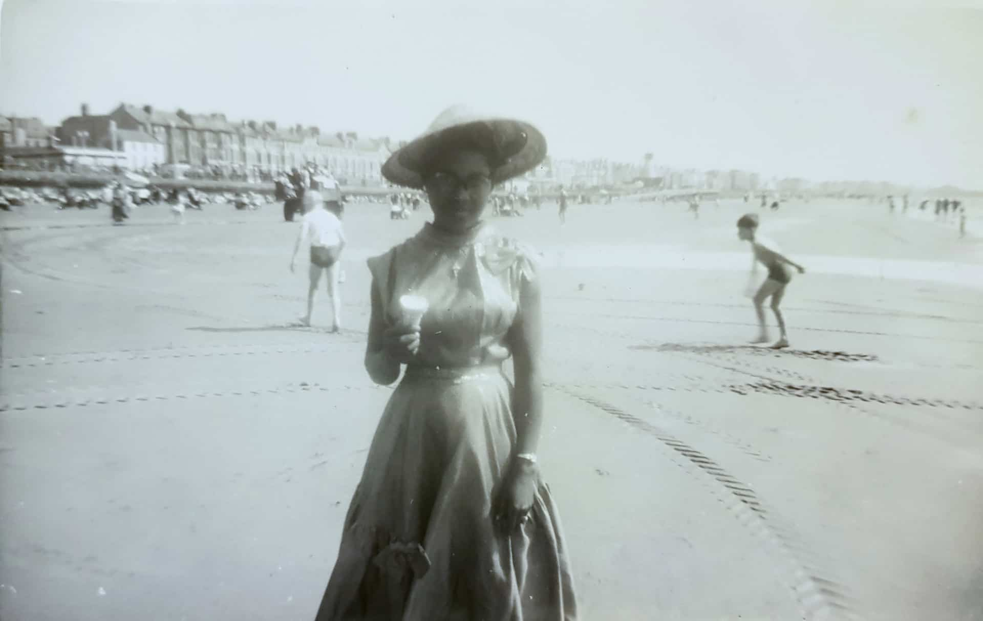 Herma Hansle on Blackpool Beach, 1953