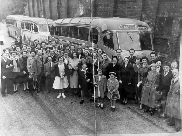 Workers from Payne and Griffiths prepare for a works trip to Llandudno, early 1950s