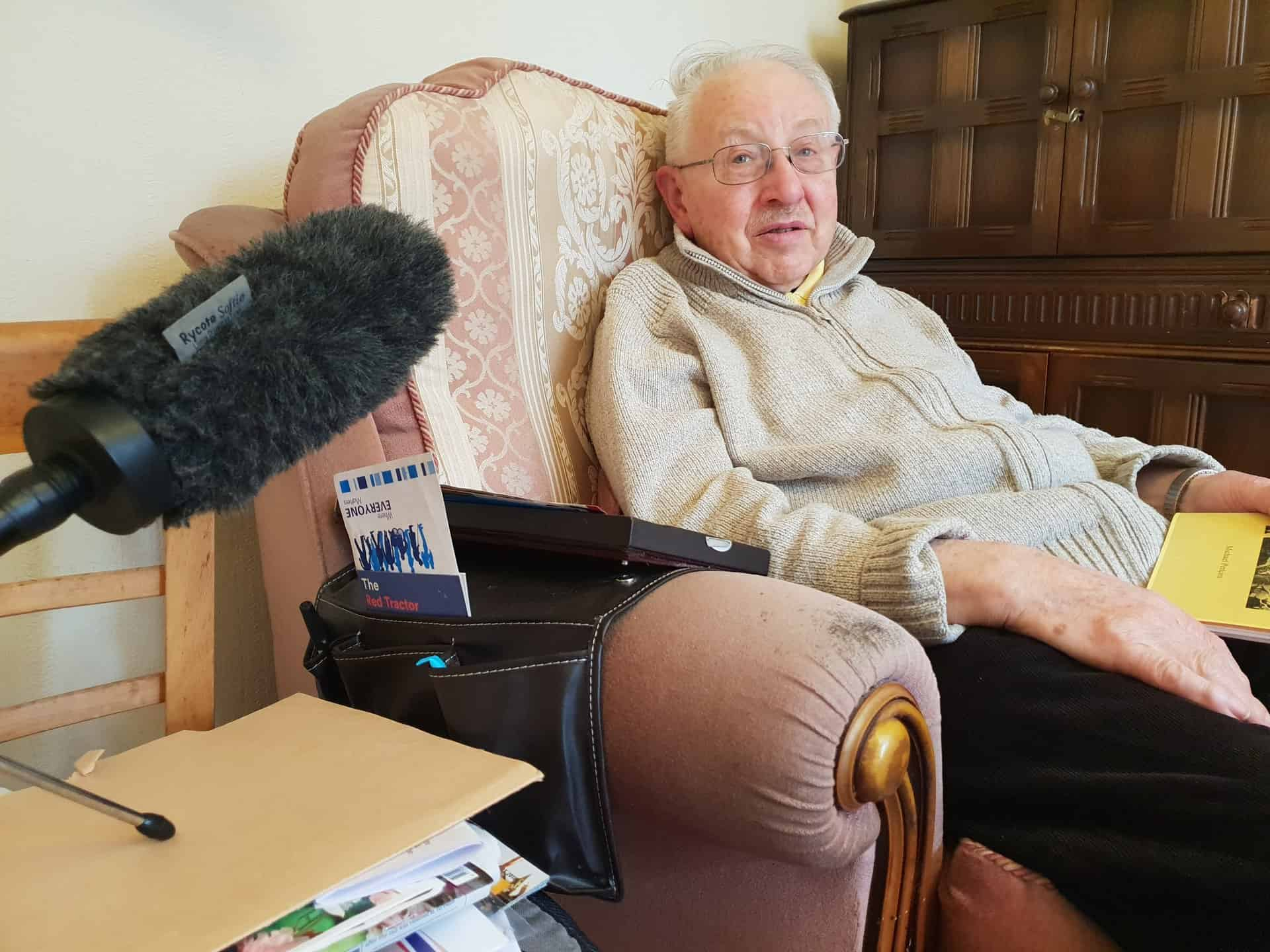 John Shrimpton being interviewed, March 2018