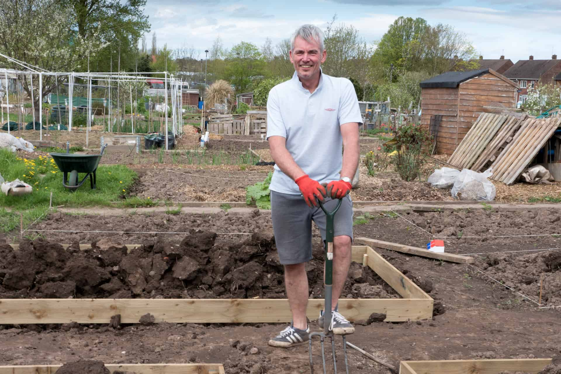Richard, one of the plot-holders at Boundary Way. (photo Geoff Broadway)
