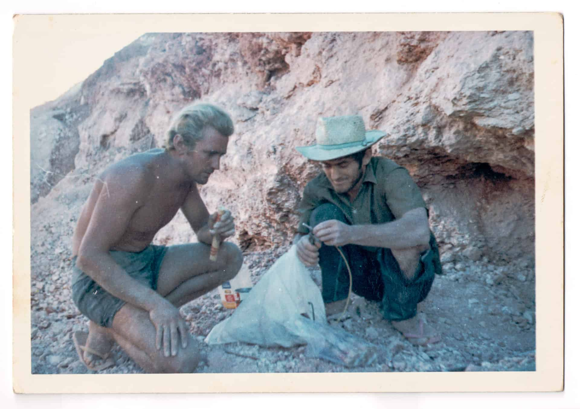 Inscription on back reads: 450 miles north of PP Coober Pedy Opal Fields Prospectors Anon *Bang* Of course my next film will be in Hollywood.