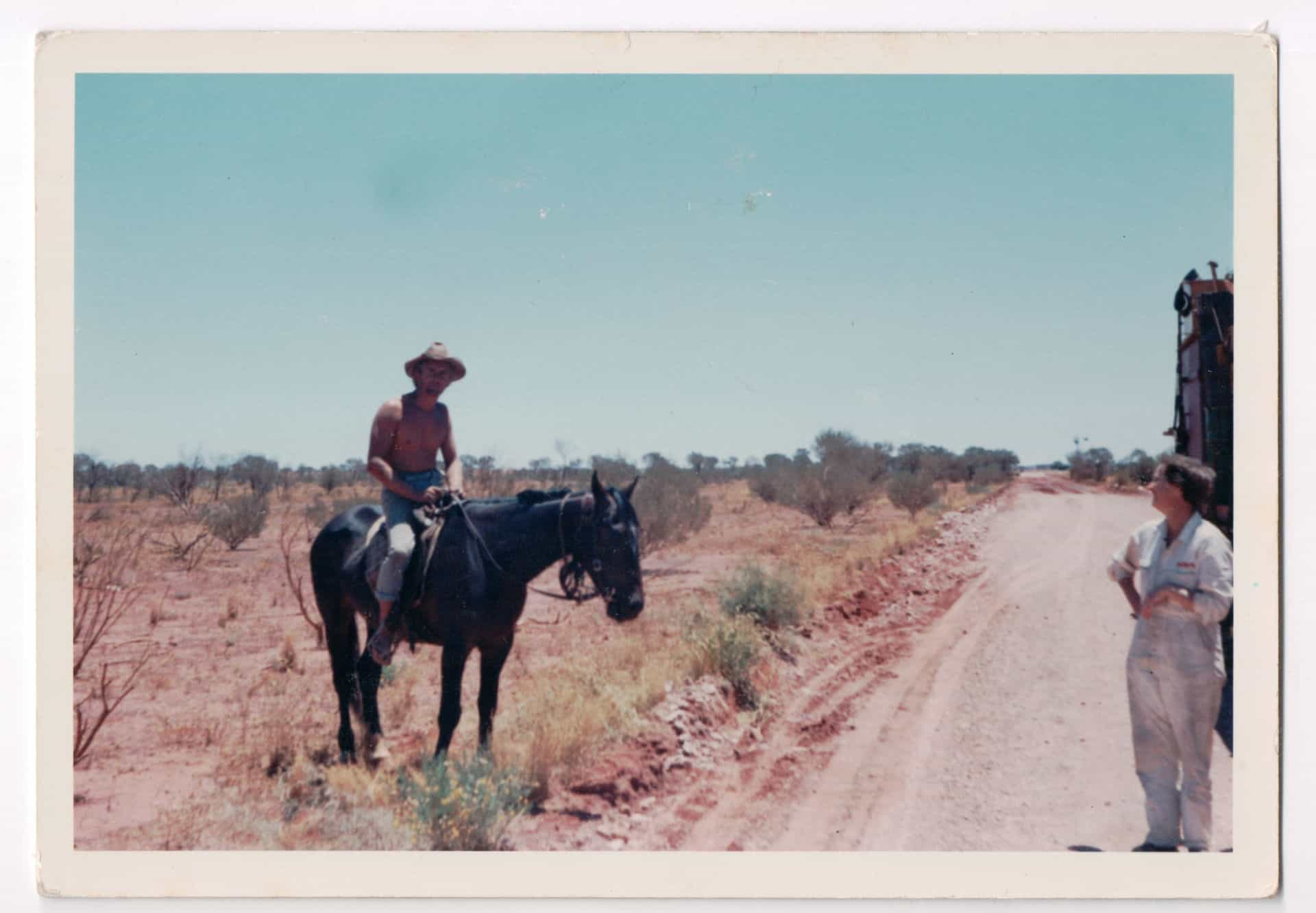 """Written on back: Me and horse. All good badmen need a shave. """"Mala Bore"""" camped 2 nights near here, could not get through because of rain and mud on road."""