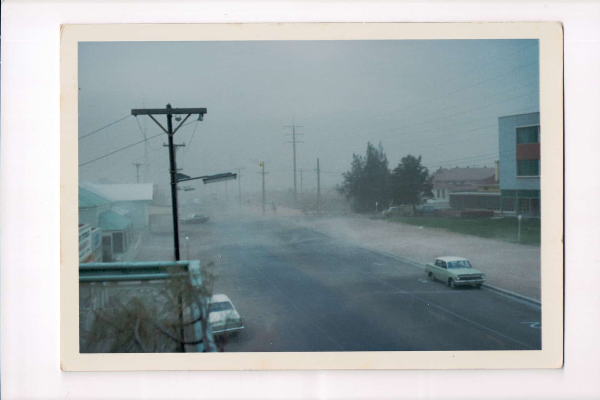 Inscription on back: Dust storm. Hot! And then didn't it rain?