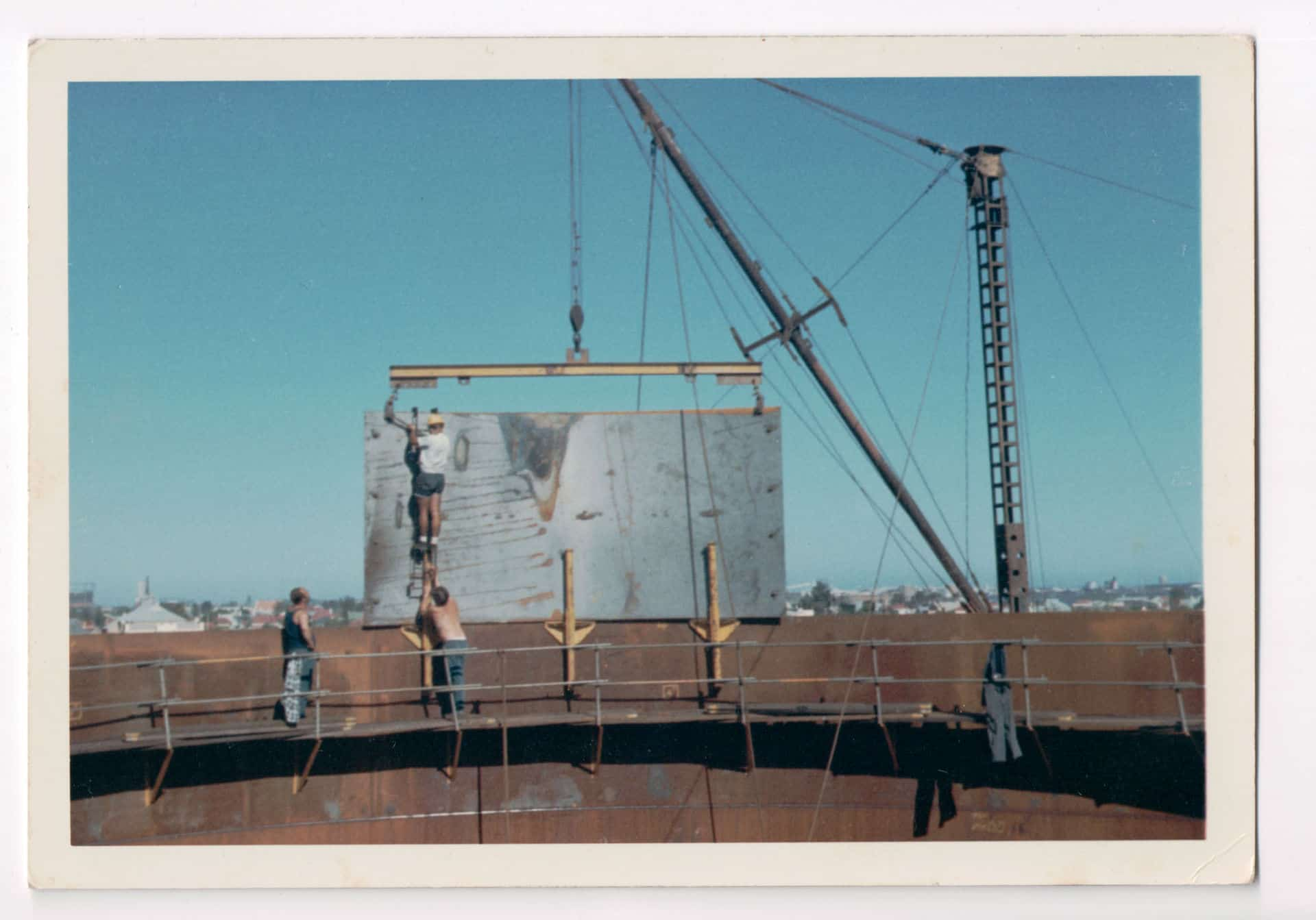 Inscription on back reads: At 36 ft, Grain silos left, 3 1/2 million bushels capacity