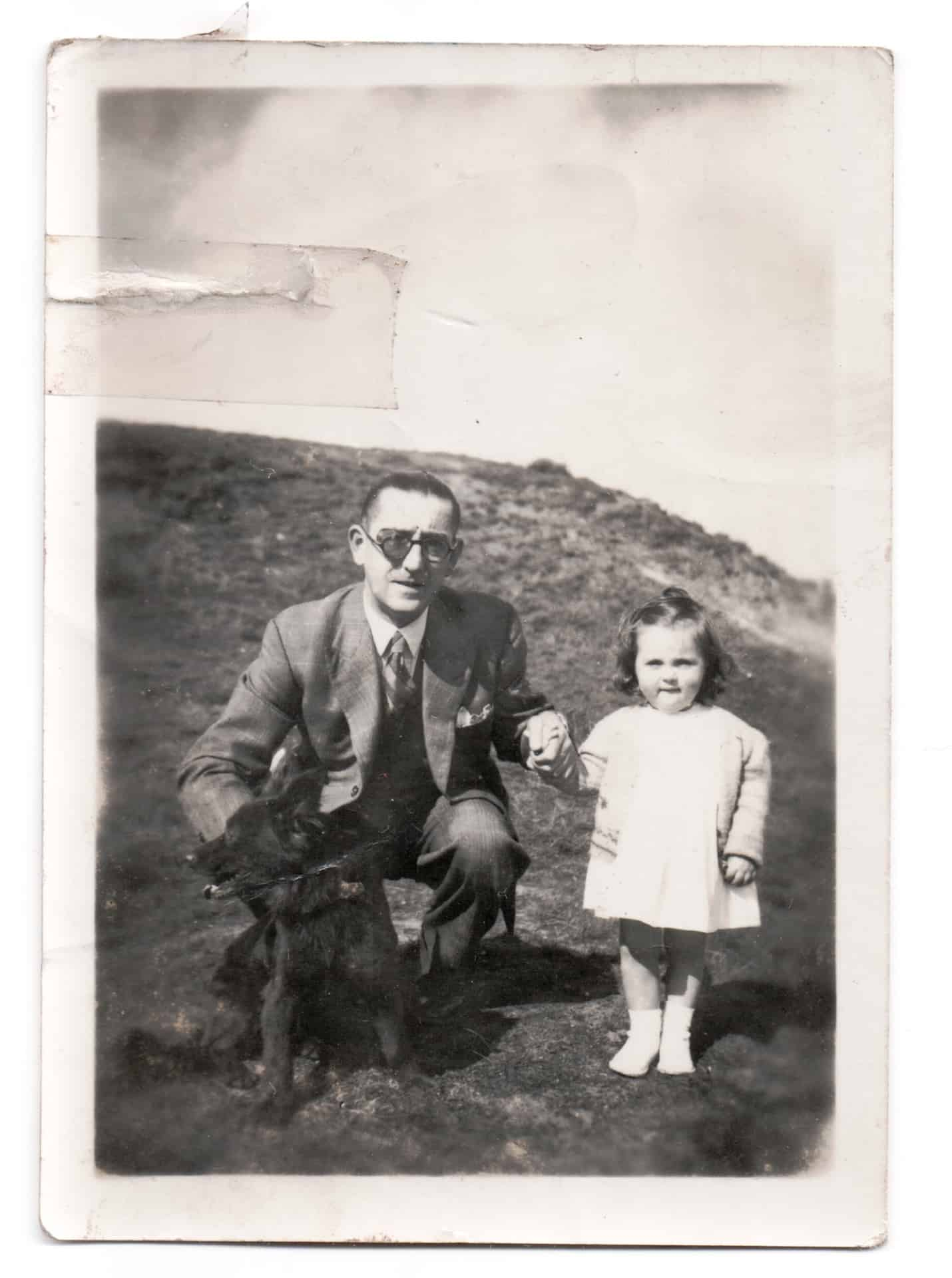 This is me with my dad. He was a wonderful dad and husband, and family member to everybody. I think it might be taken in Rounds Green Hills, we never went far. He was really kind and very funny. He died when he was only 70, that was back in 1973. I was 26 when dad died. It was a terrible shock.