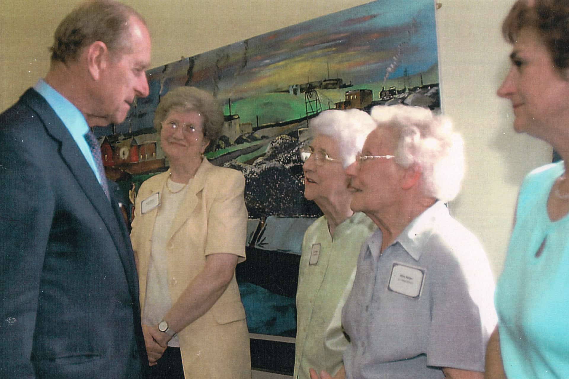 The only recent picture I have of my mom is this one when Prince Philip came to visit in about 2003. She died nearly 10 years ago now. She would be 100 this May so she was born in 1918 at the end of the first war.  That's my mom in the green top.