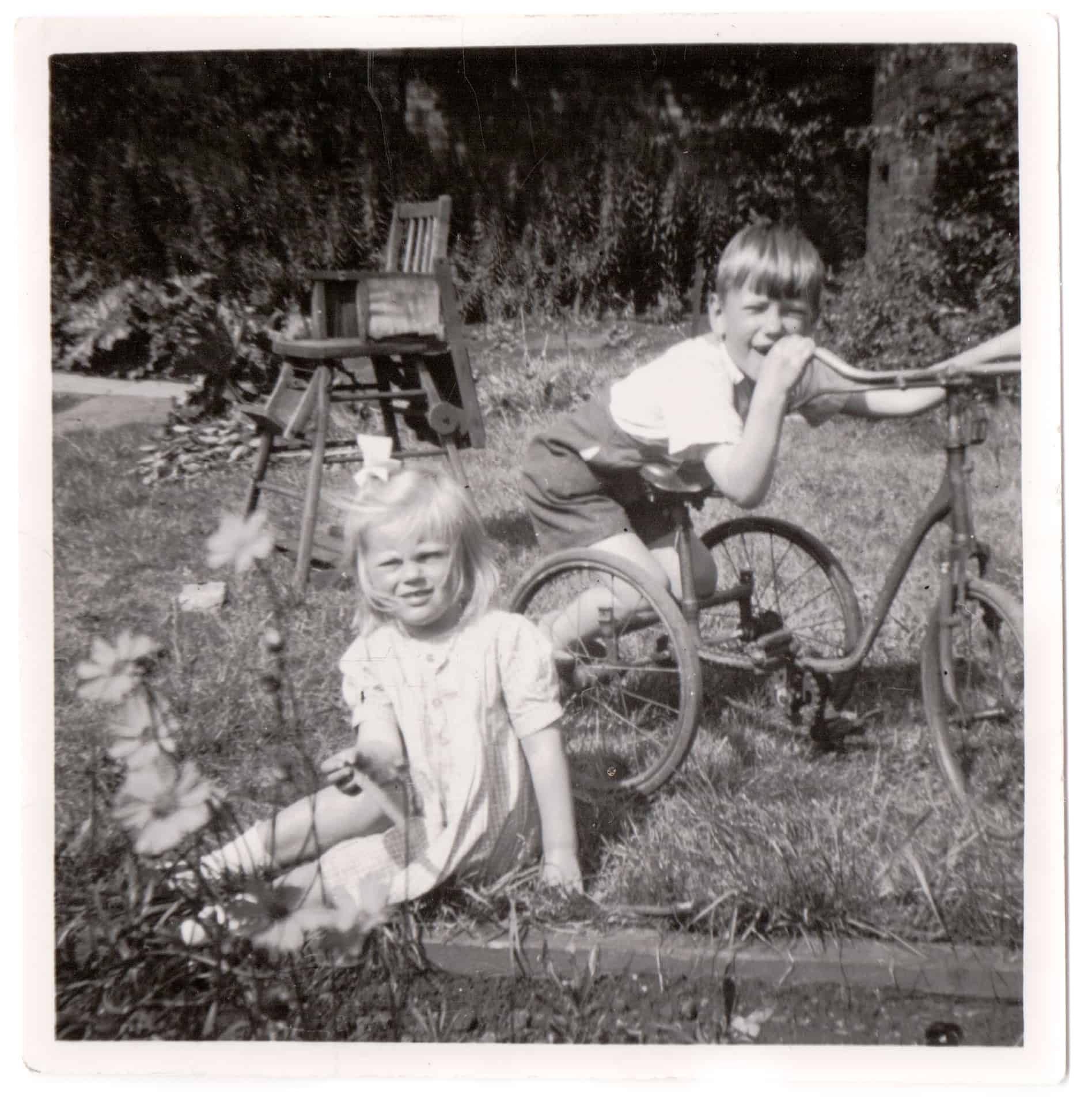 Maria Billington's mum Katherine and her uncle Stephen in the garden taken in the late 1940s.