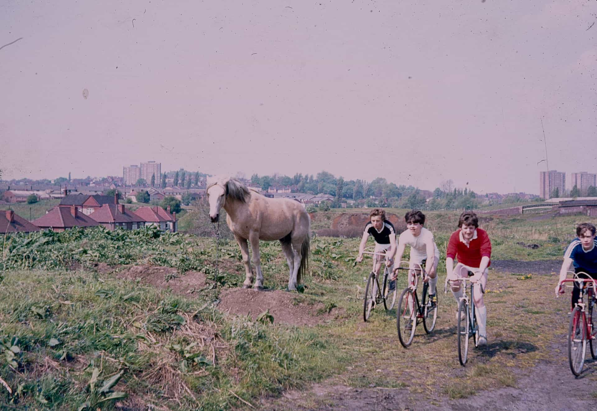 Boys out cycling, probably in Tipton. 1980s