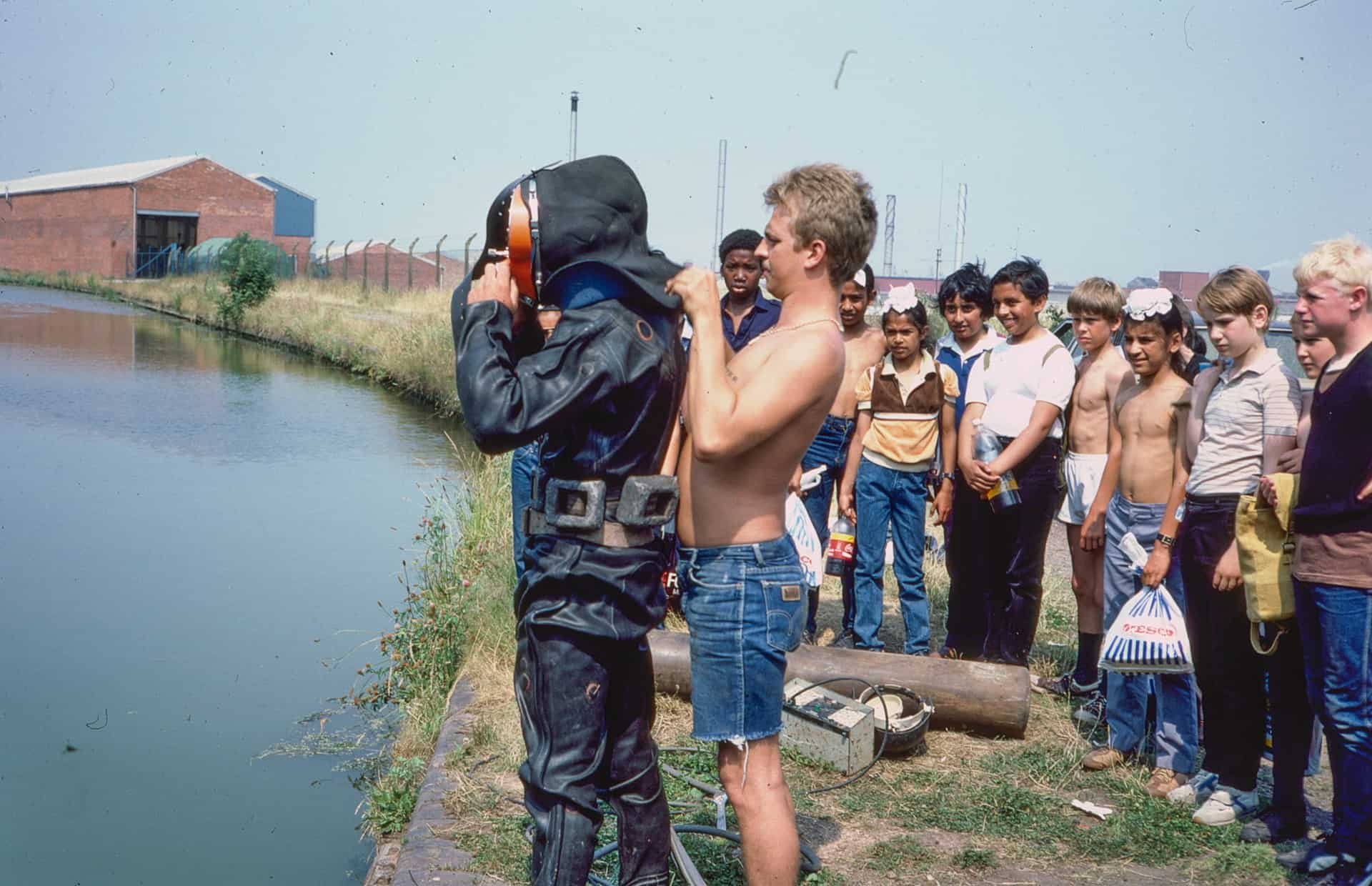 Smethwick Hall High School boys meet diver at Tividale. 1980s