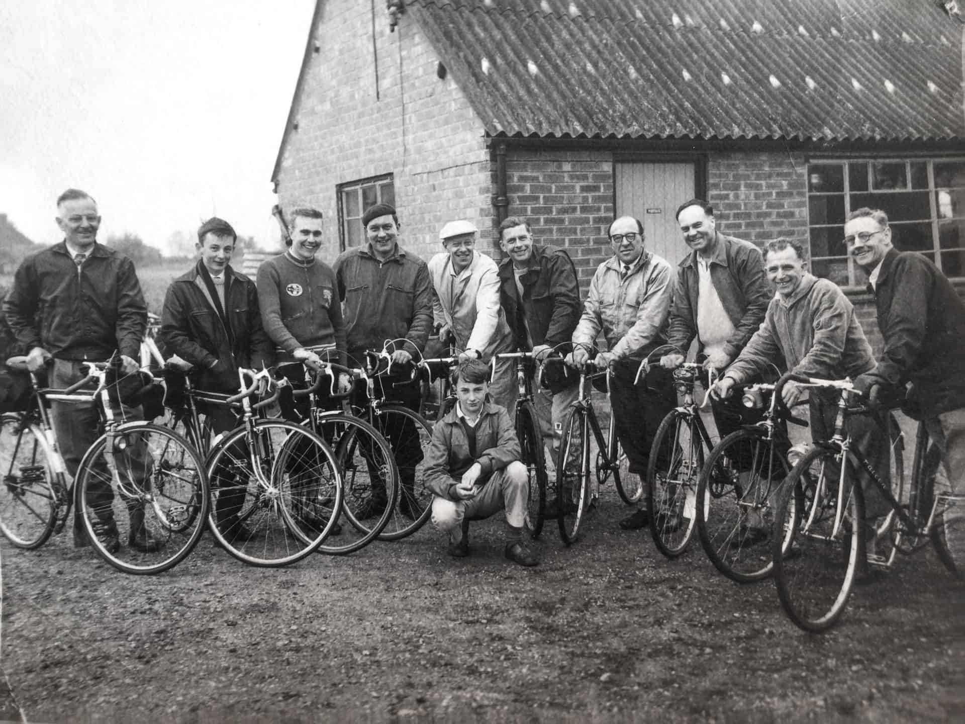 Probably Oldbury Cycling Club late 1950s. Bob Mansell is third in on left, his father Robert senior is 1st on the right riding the Falcon bike.