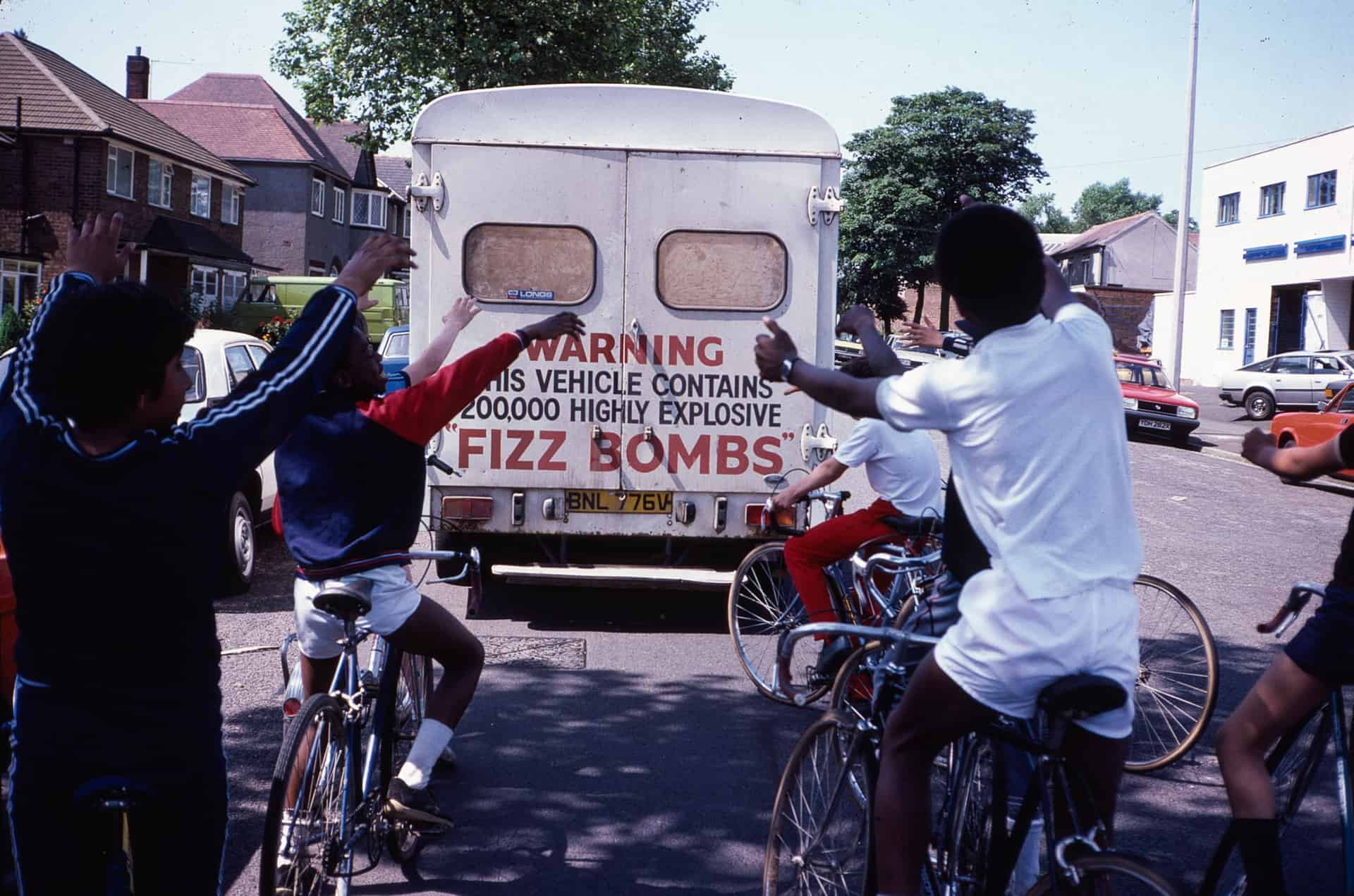 Boys from Holly Lodge High School with Fizz Bombs lorry. Roebuck Lane, West Bromwich. 1980s