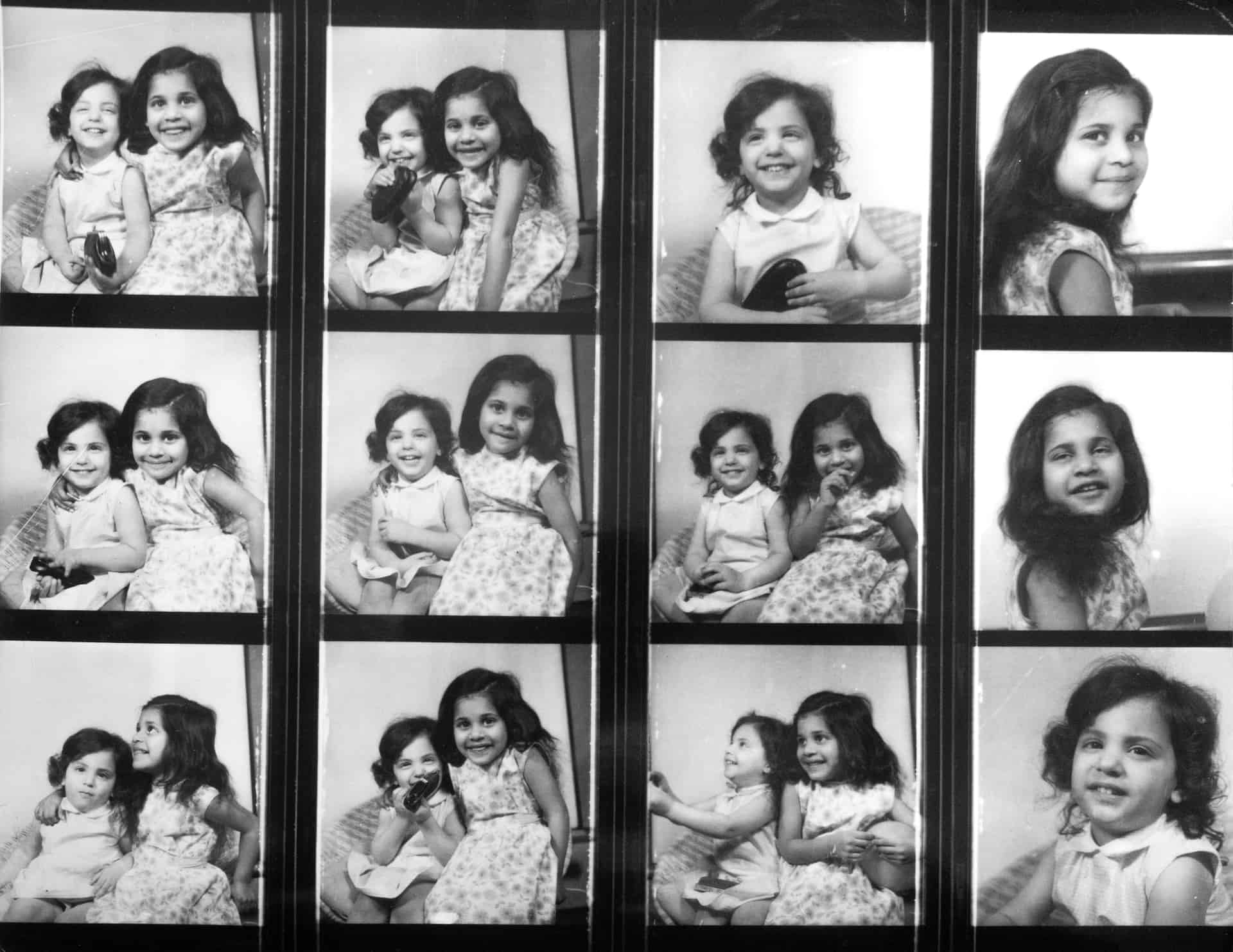 Studio shot of Marianne (left) and her sister Vee, taken in the early 1960s