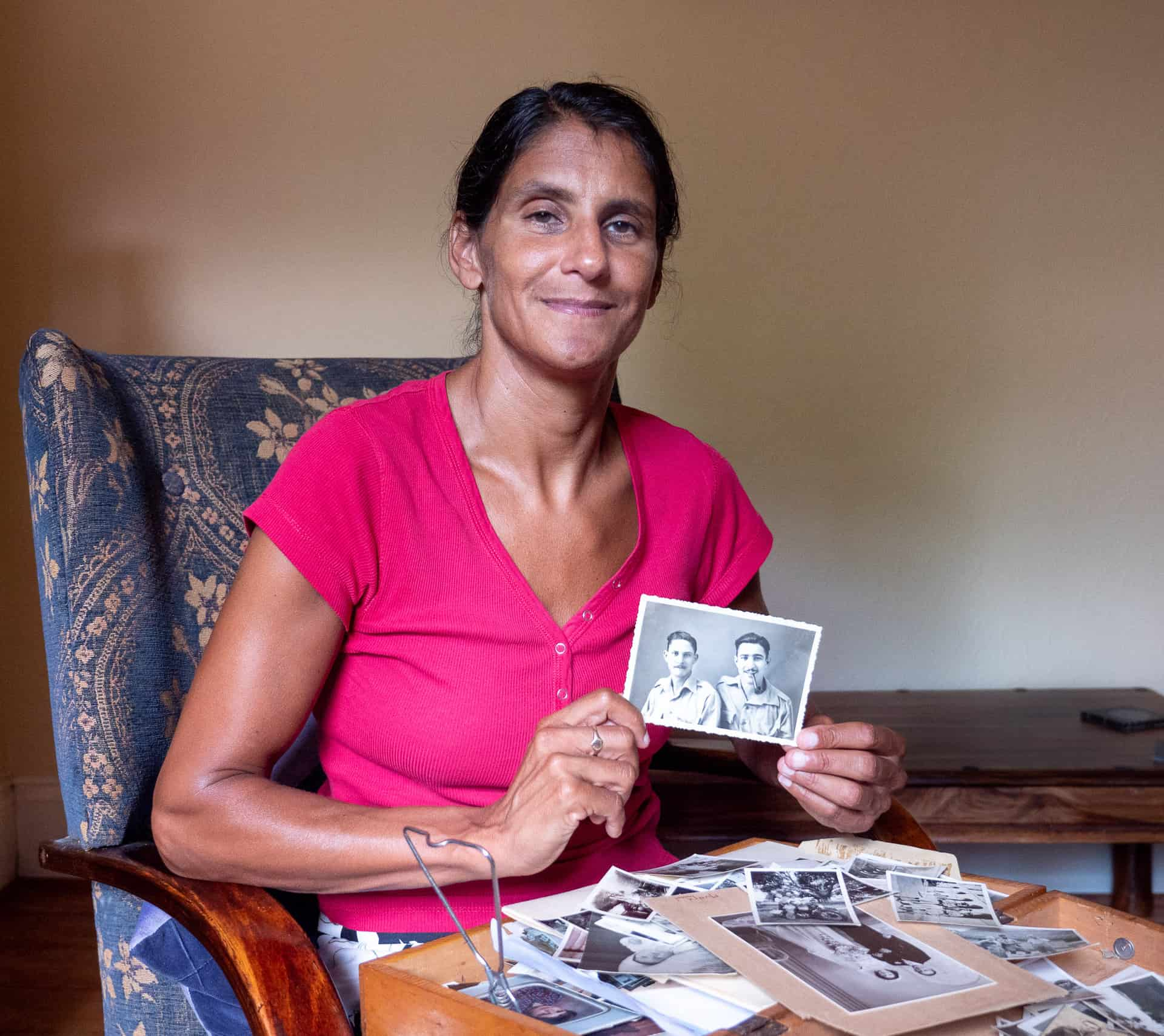Marianne at her home in Smethwick with part of her family photographic collection.