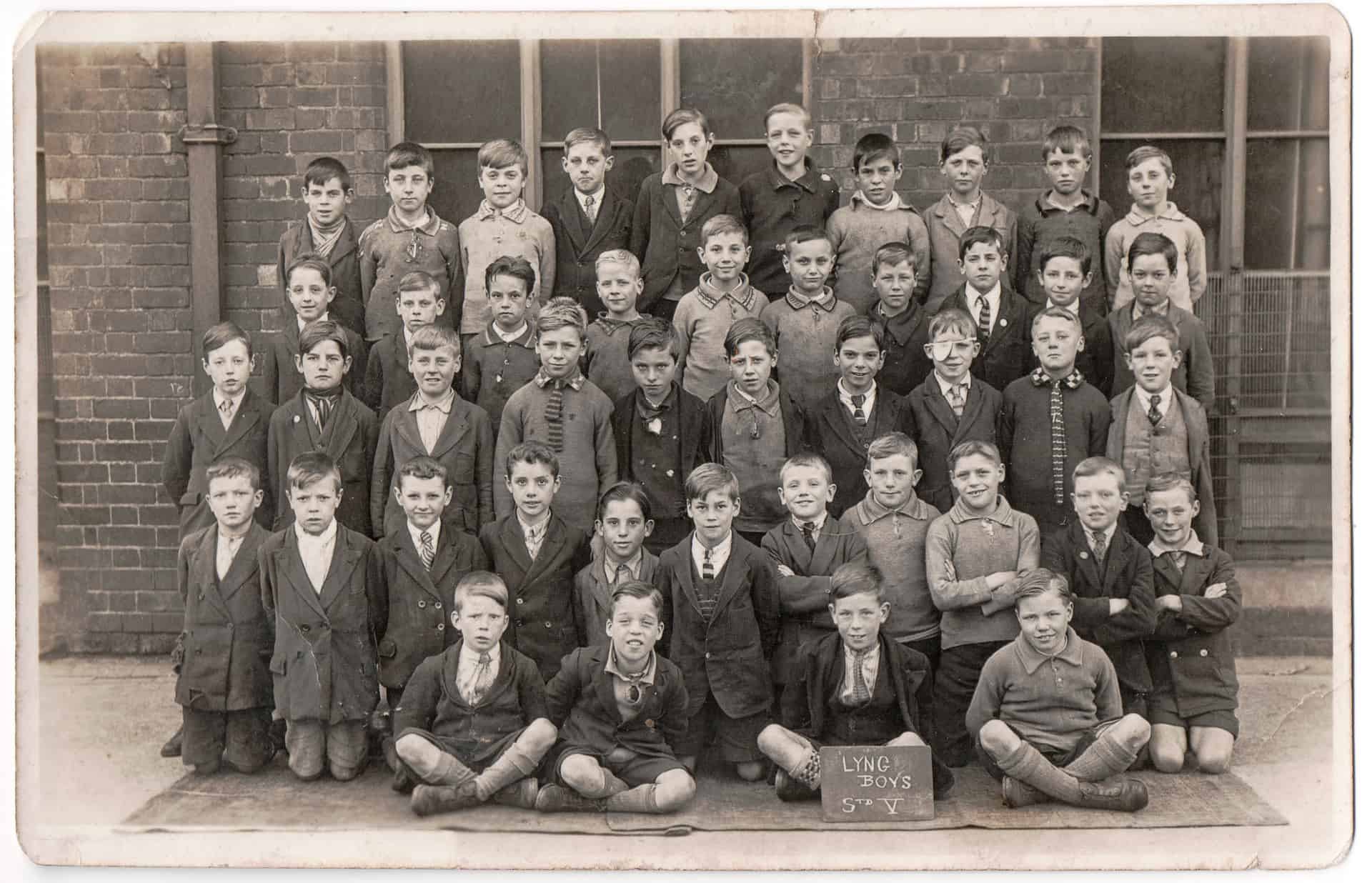 Lyng Boys School, taken about 1930. Bill is second from the right on the second row from the back.