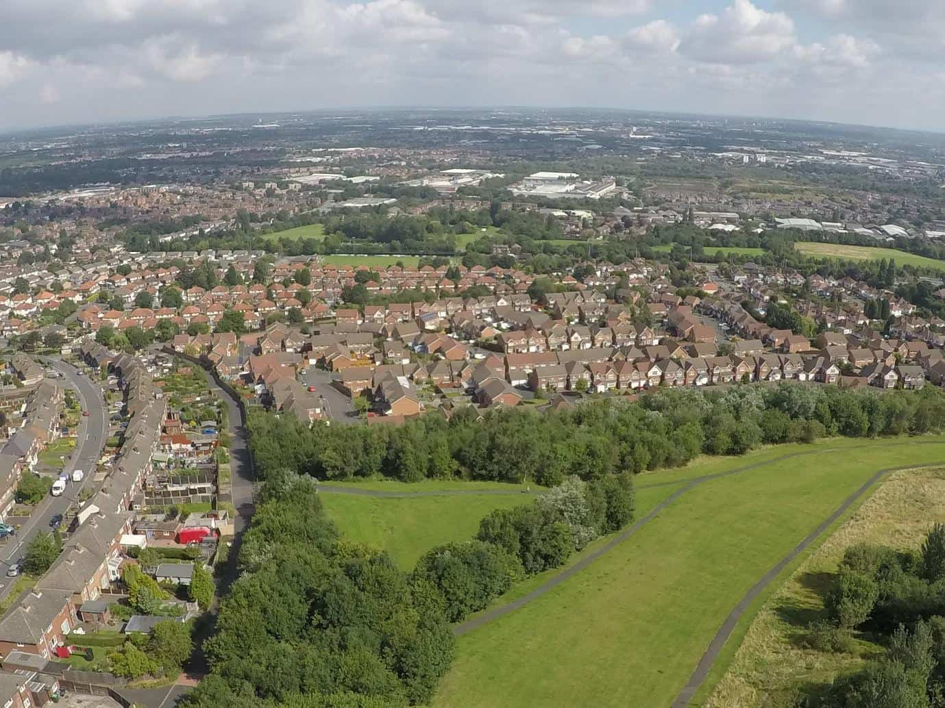 Looking towards Tividale Park in the middle distance; the grassed part is the edge of the now-filled in Grace Mary Quarry.