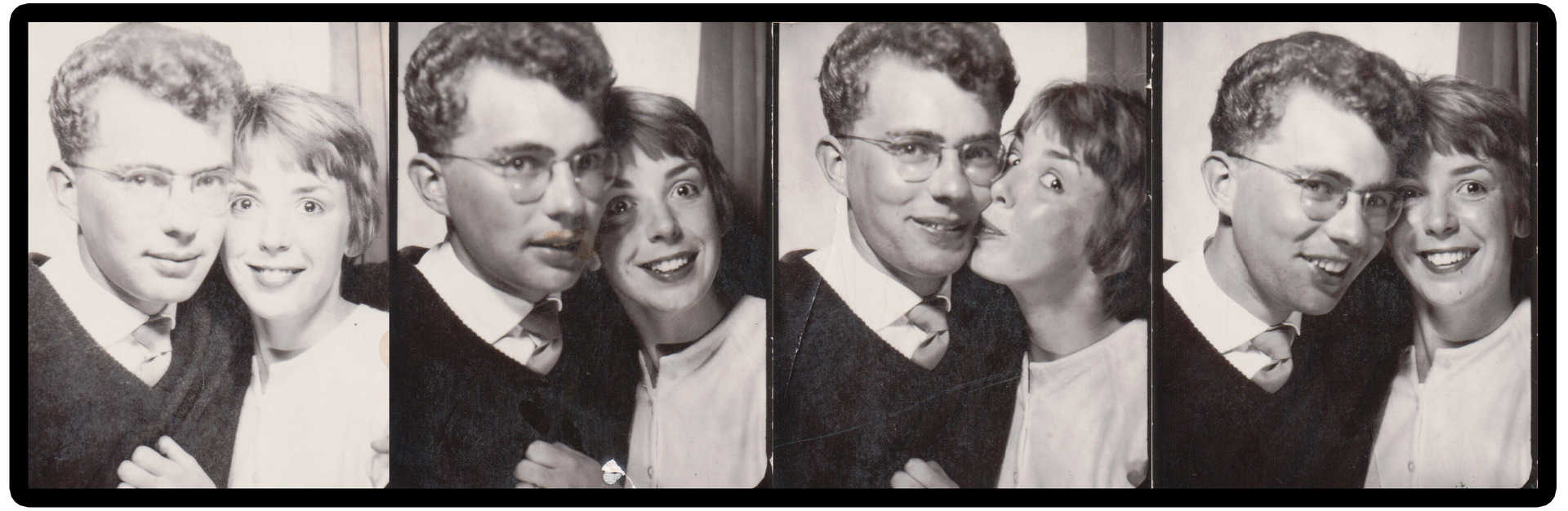 Gary and Dorothy in the photobooth before they were married. Late 1950s