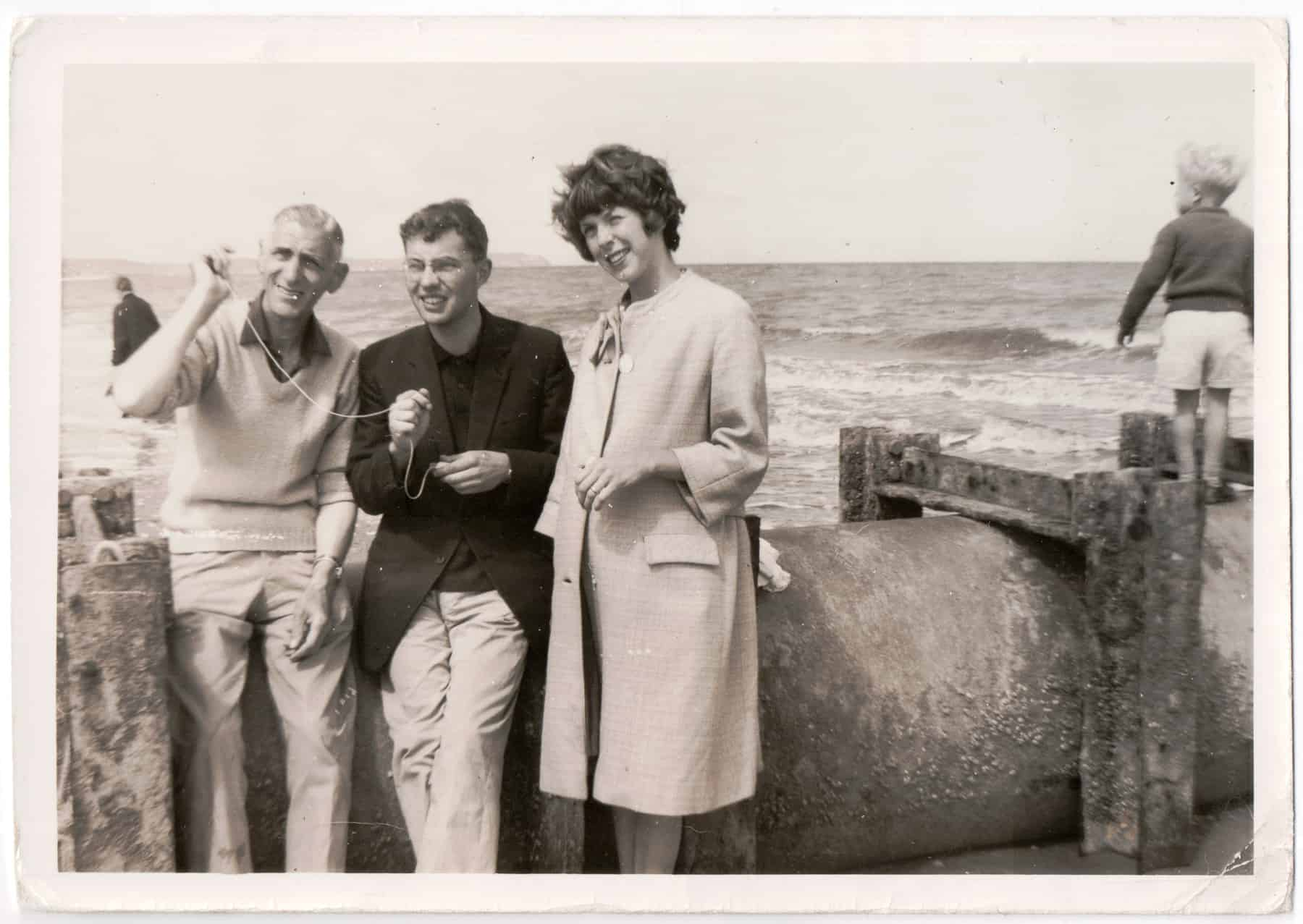 Gary's dad Bill Watton flying a kite with Gary and Dorothy at Weston-super-Mare in 1964.