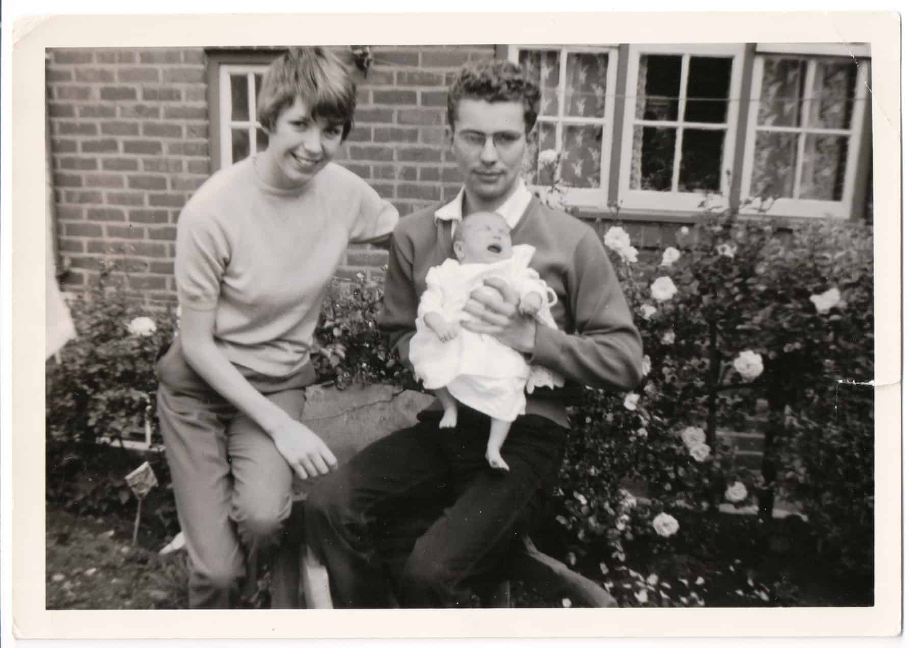 Dorothy and Gary with their first child Belinda in 1962, taken in Gary's mum's garden.