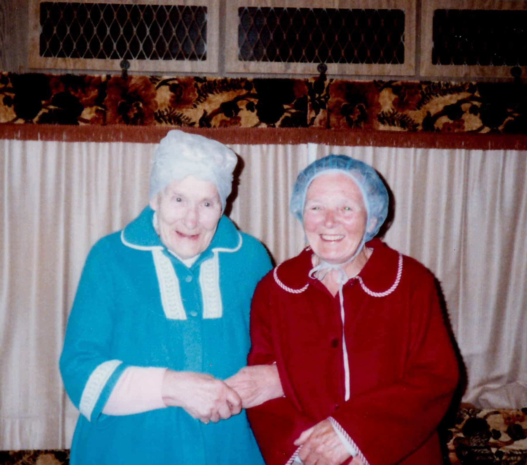 Gary and Dorothy's mums'  Eva and Beatie in hairnets.