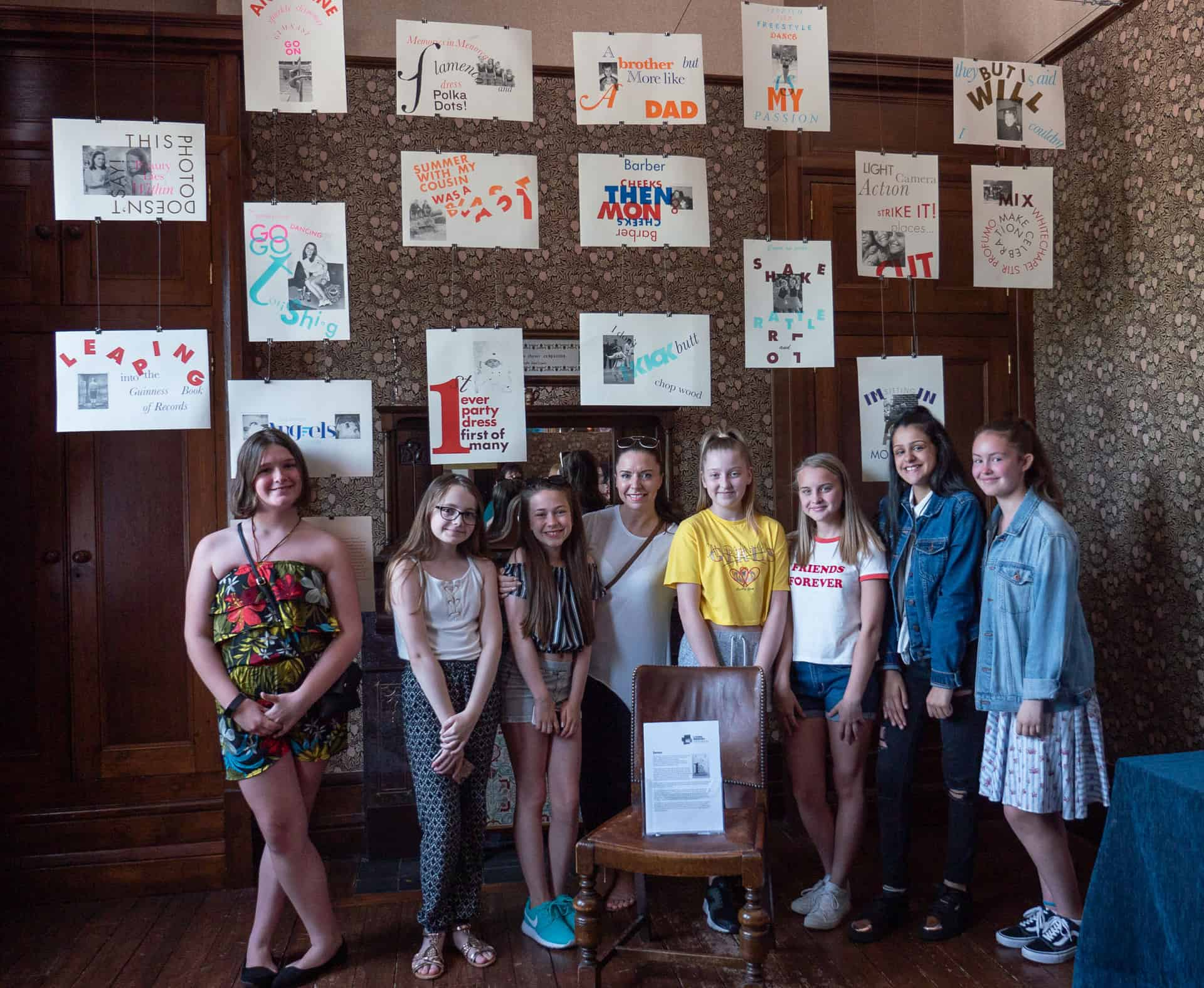 Some of the students from St Michael's School, Rowley Regis, stand in front of Seven that they produced for the Living Memory exhbition.