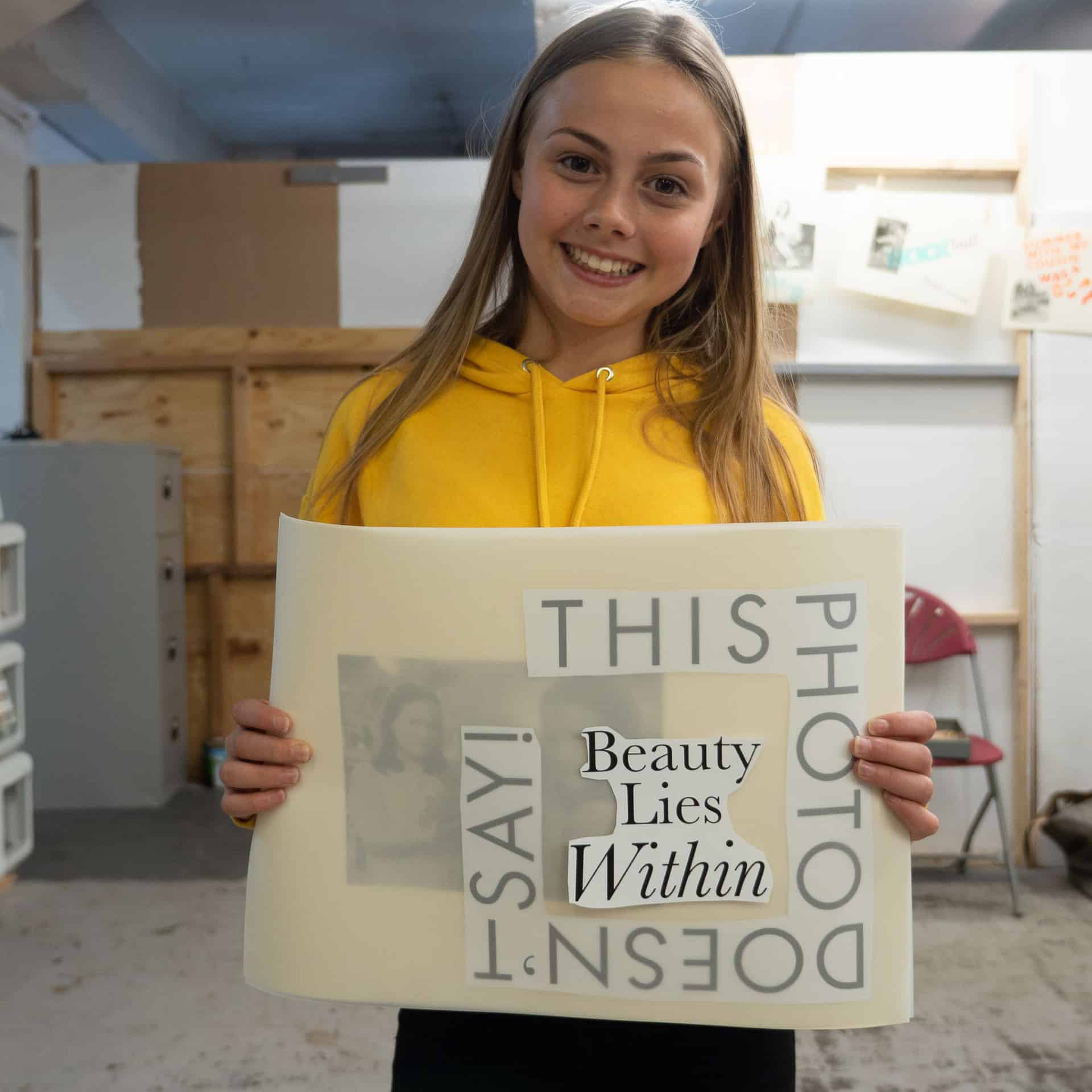 One of the students preparing to make her final print at Ropepress, Birmingham