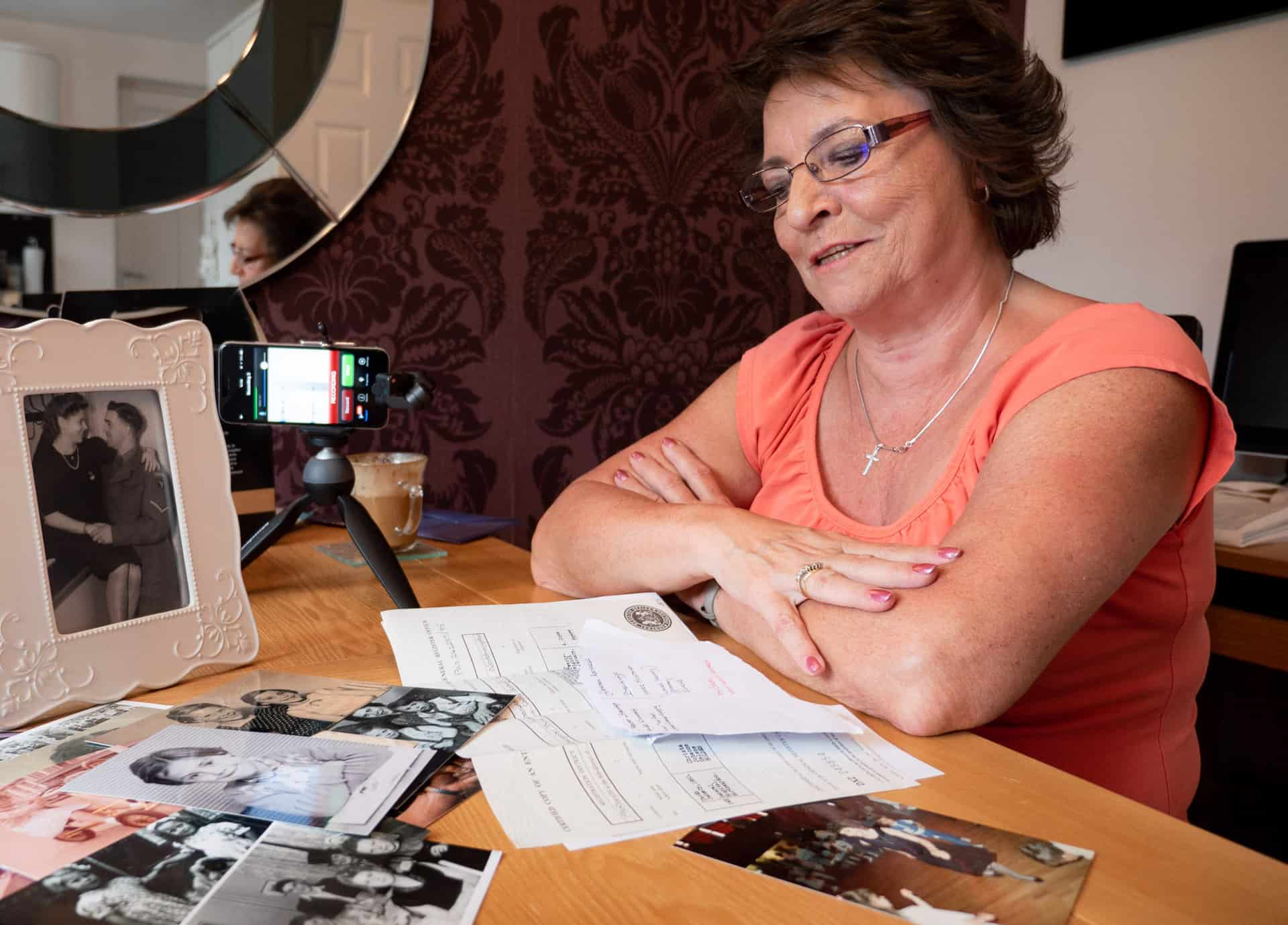 Jackie recording her story in her house in Rowley Regis in June 2018