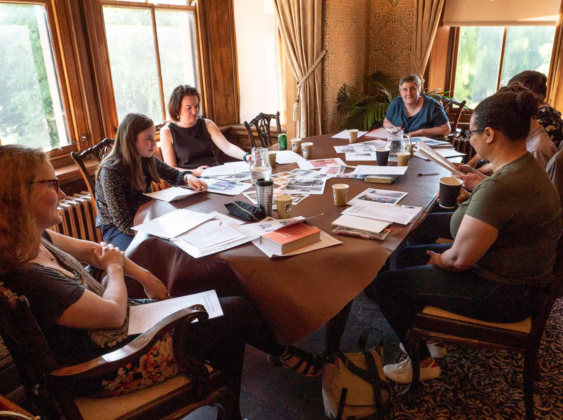 Louise Palfreyman (left) leading the 'In Perspective' Creative Writing Workshop at Haden Hill House Museum in June 2018