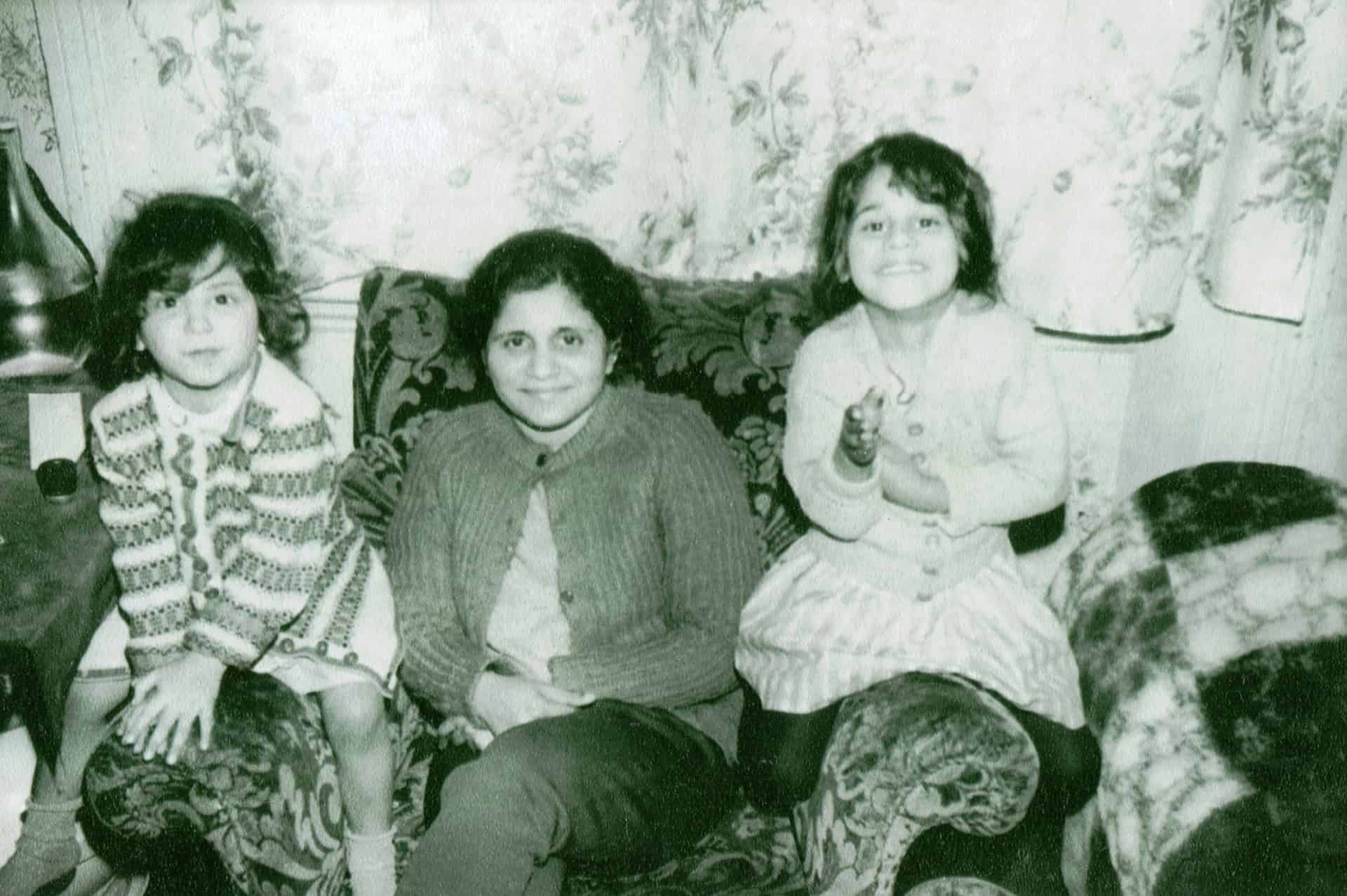 Marianne (left) with her mother and sister Vee in London in the 1960s.