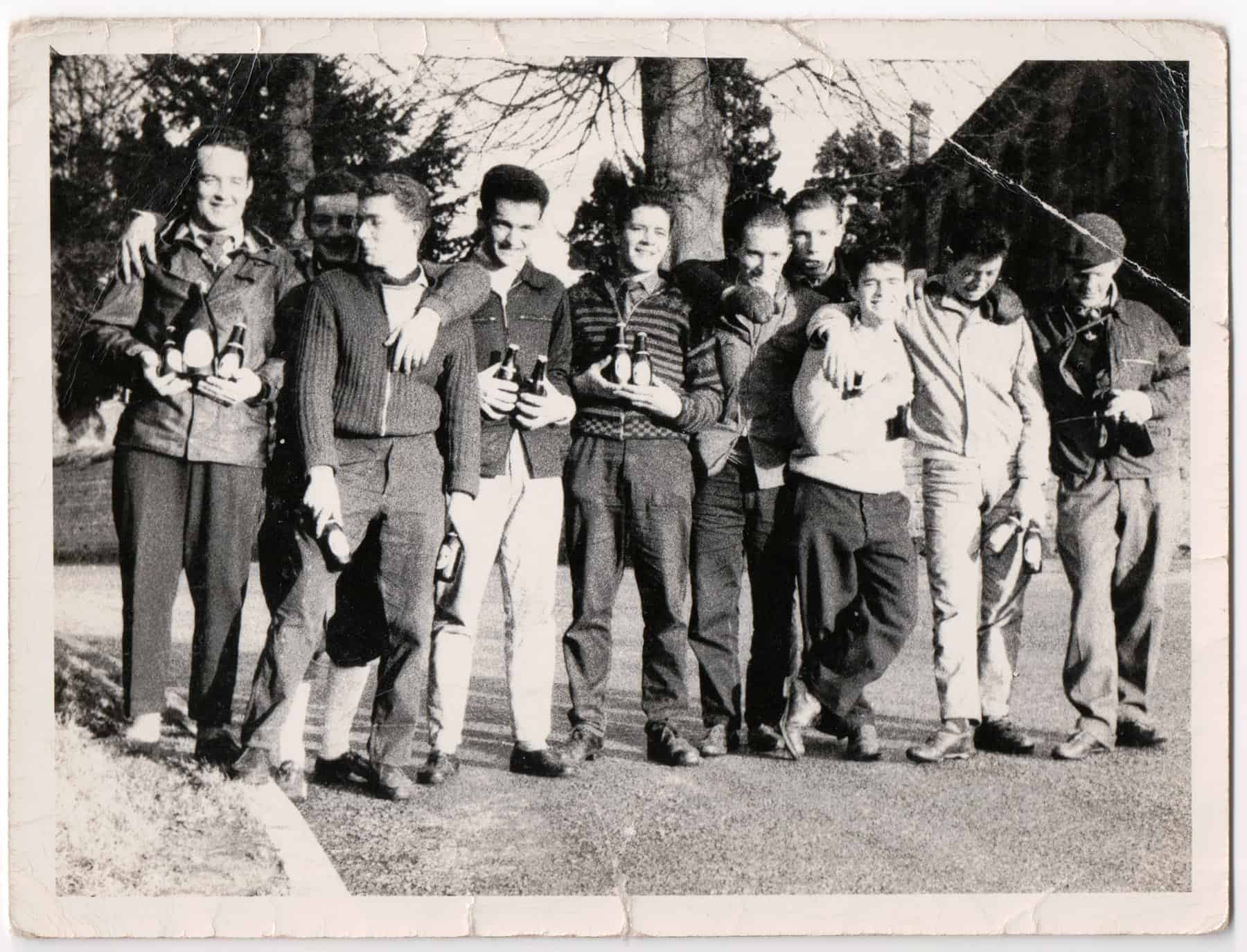 Gary (third from the left) on a cycling trip with his friends in 1959.