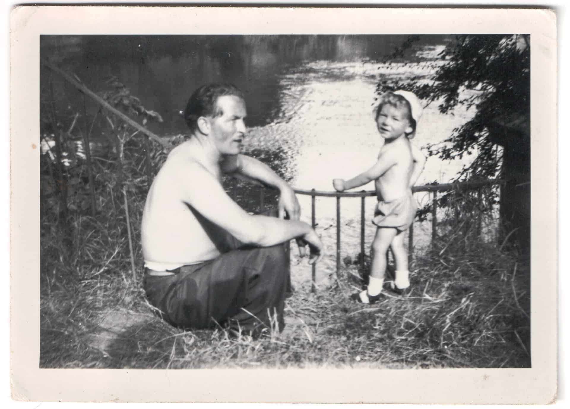 Lovely, beautiful. One of my favourites.  It's just nice, father and son. Because they were very close you see.   It would have been about 55 years age. Bill loved a photograph and he was very photogenic as well.