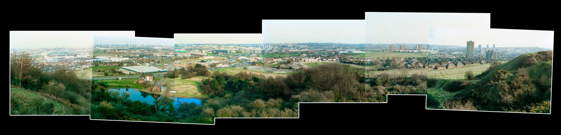 Panarama of Oldbury taken from the Rowley Hills in the 1980s by Jim Rippin.