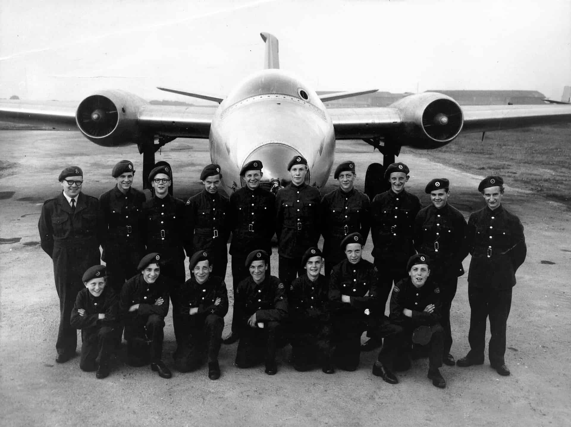 Air Cadets 2156 Sqn, Old Hill at Annual Camp RAF Binbrook 1953/4. I am on the front row, third from the right.