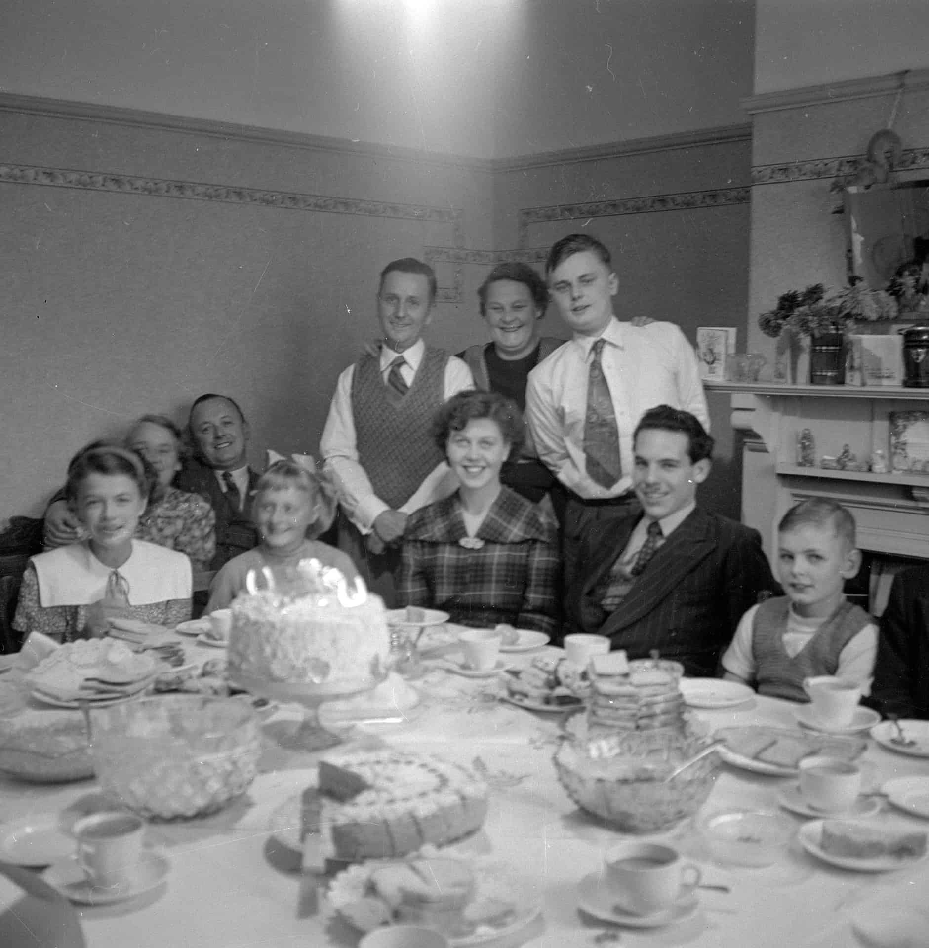 This was my brother's 21st birthday party in 1952 at Wallace Rd, the whole family was in attendance. The large glass bowl you can see on the table is still in use today and this Christmas it will be used again for a large trifle. Some things don't change.