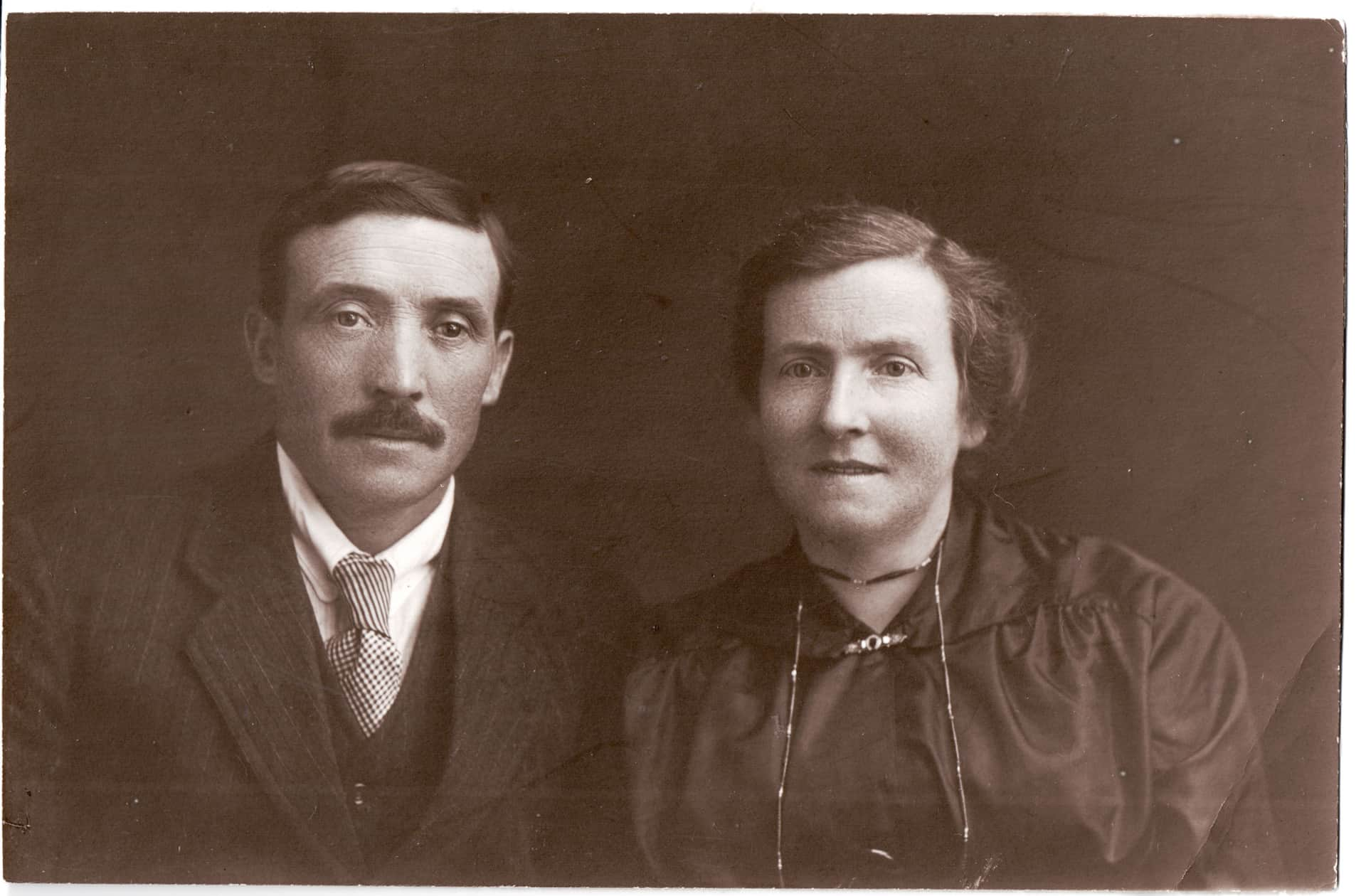 This is a beautiful photo of my mom's aunt Lizzy and Dave taken probably in studio in Grantown just after the first war. It's a genuine photo, if that makes sense, It's got this special quality.