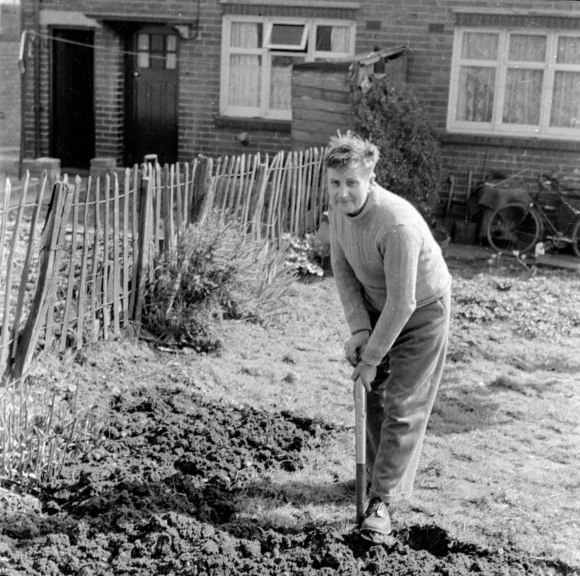 So this is my dad Bill Rippin. I wouldn't say he was a keen gardener,  I mean wartime made you a keen gardener in some respects because we grew our own. On one side of the garden was potatoes and there was carrots and cabbages and everything. It was a like a garden that had to provide the food.  There weren't any flowers except down the bottom end, just a couple of rows of flowers. This was all, some fruit trees, gooseberries, blackberries and all sorts.