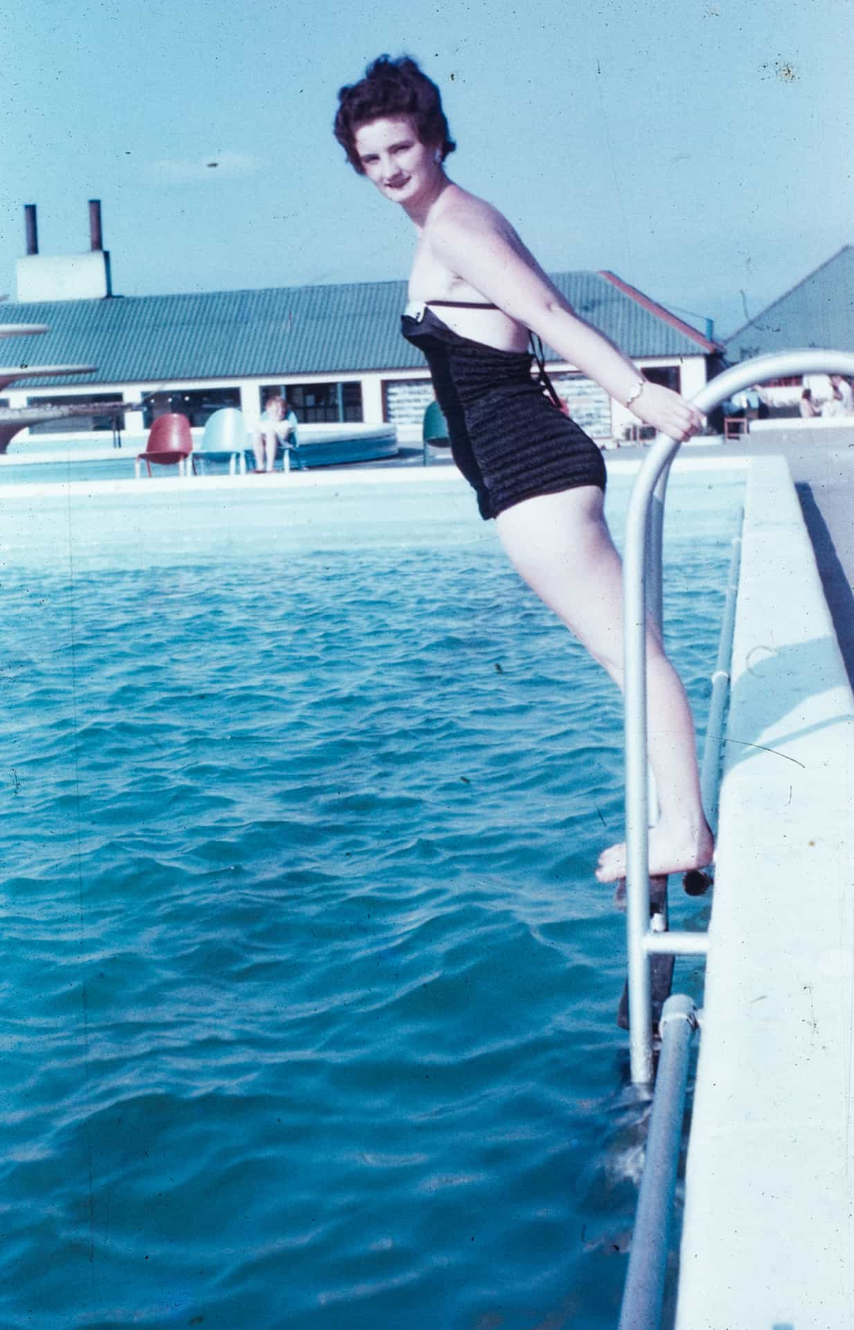This is Rita at the same holiday camp about to take a dip.