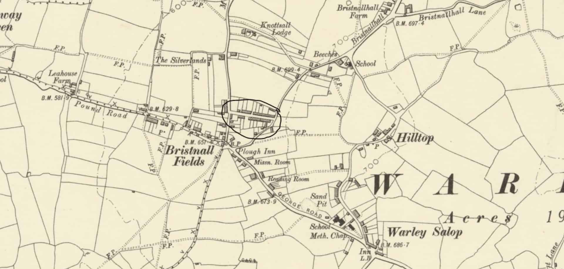 19th century map of Old Warley