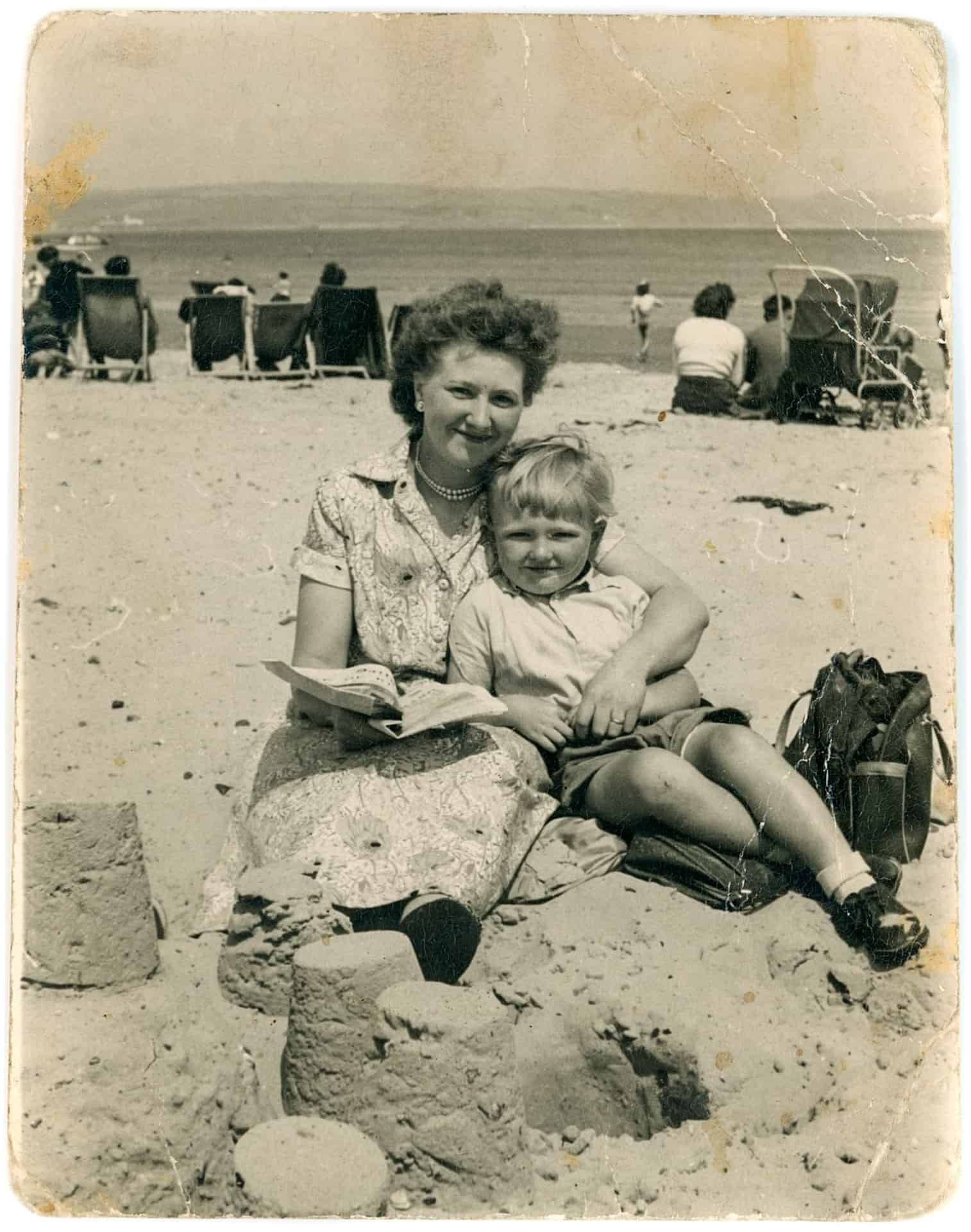 Mom and me probably at Weston-Super-Mare in the 1950s